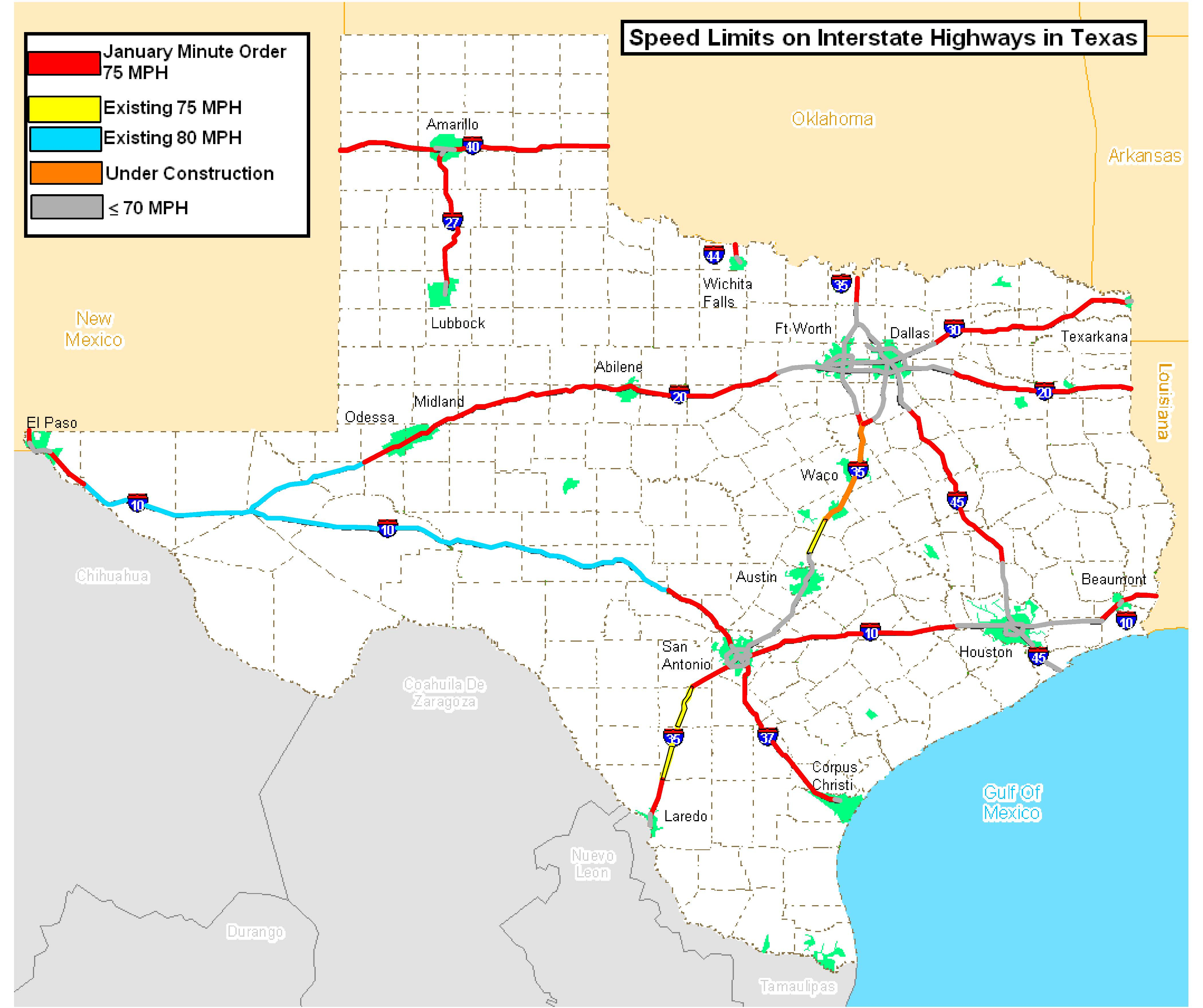 Speed Limits On Interstate Highways In Texas [4200X3519] : Mapporn - Map Of I 40 In Texas