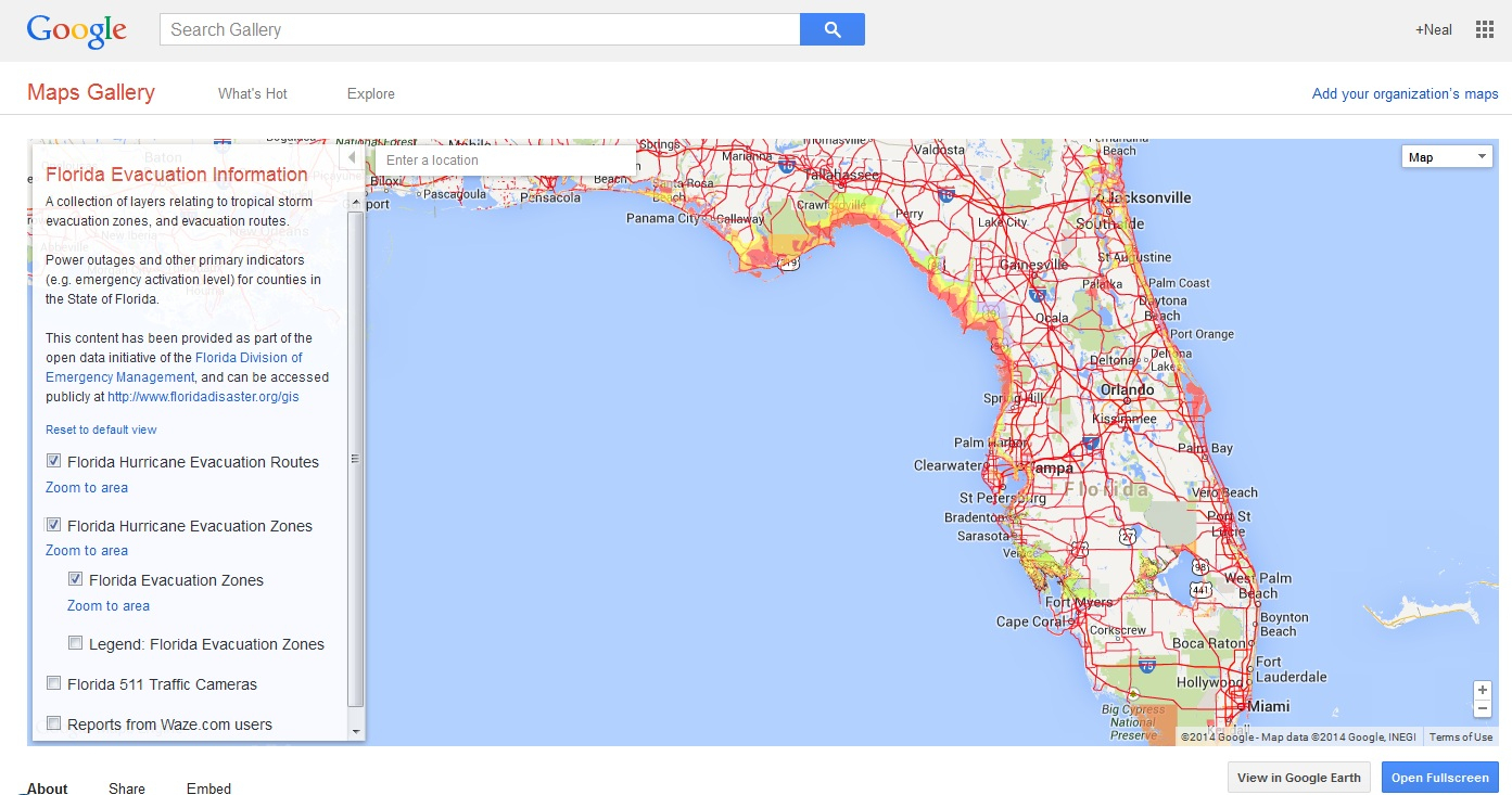 Spot-On Legal Research: Researching Geography With Google Maps Gallery - Florida Evacuation Route Map