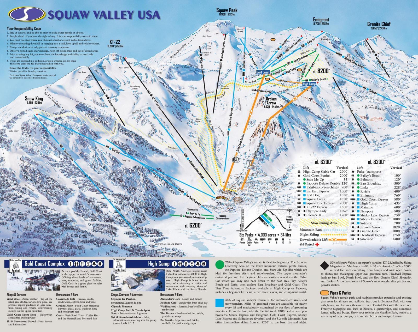 Squaw Valley Ski Resort, Ca, Usa, Trail Map | Following The Leader - California Ski Resorts Map