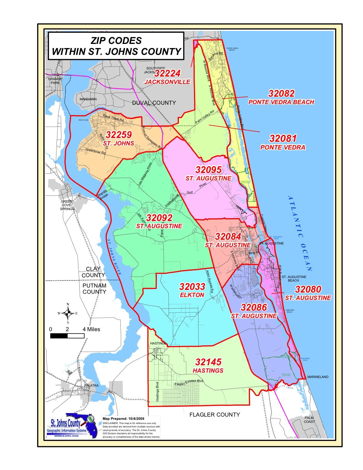 St Augustine Florida Zip Code Map | Zip Code Map - St Augustine Florida Map