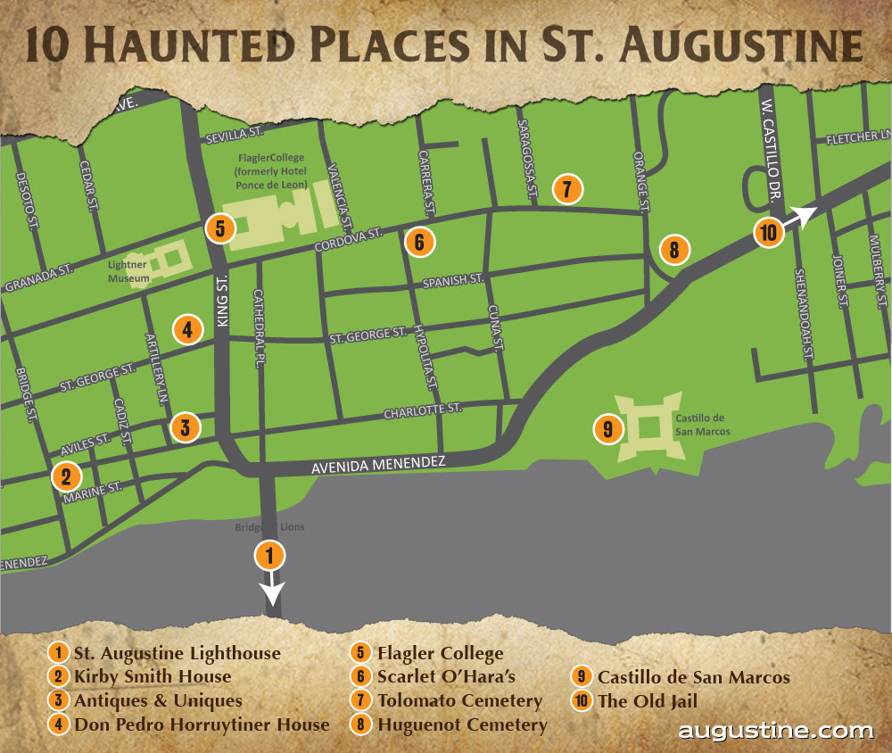St. Augustine Haunts | Visit St Augustine - St Augustine Florida Map Of Attractions