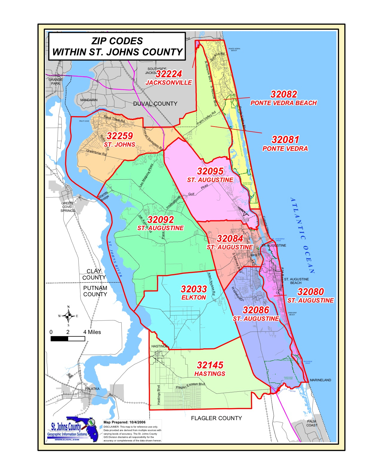St. Johns County Zip Codes - Where Is St Augustine Florida On The Map