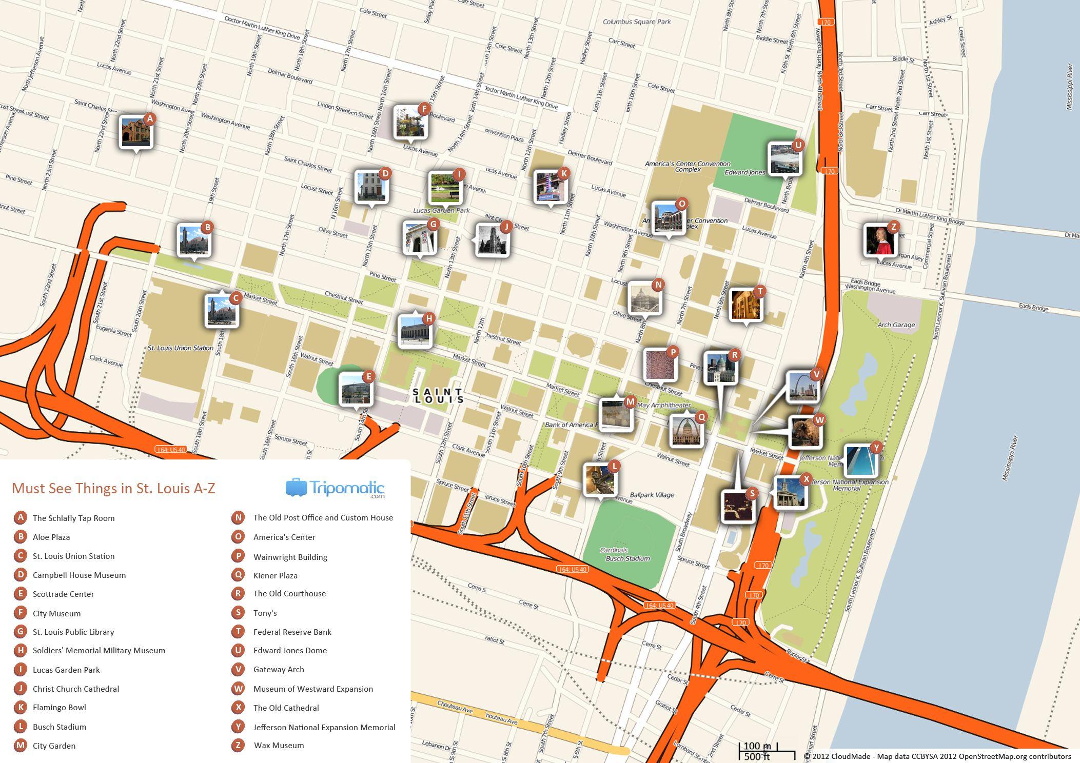St. Louis Printable Tourist Map | Free Tourist Maps ✈ | Pinterest - Forest Park St Louis Map Printable