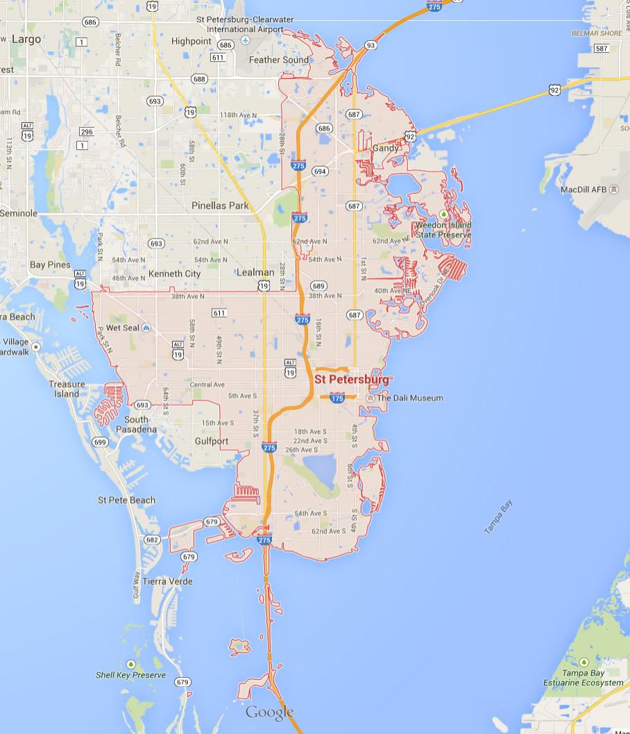 St. Petersburg, Florida Map - St Petersburg Florida Map