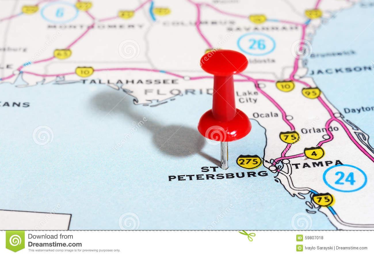 St. Petersburg Usa Florida Map Stock Photo - Image Of States, Close - Tampa St Petersburg Map Florida
