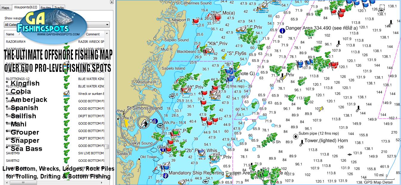 St. Simons Island Fishing Spots Map | Gps Fishing Spots & Fishing Maps - Texas Offshore Fishing Maps
