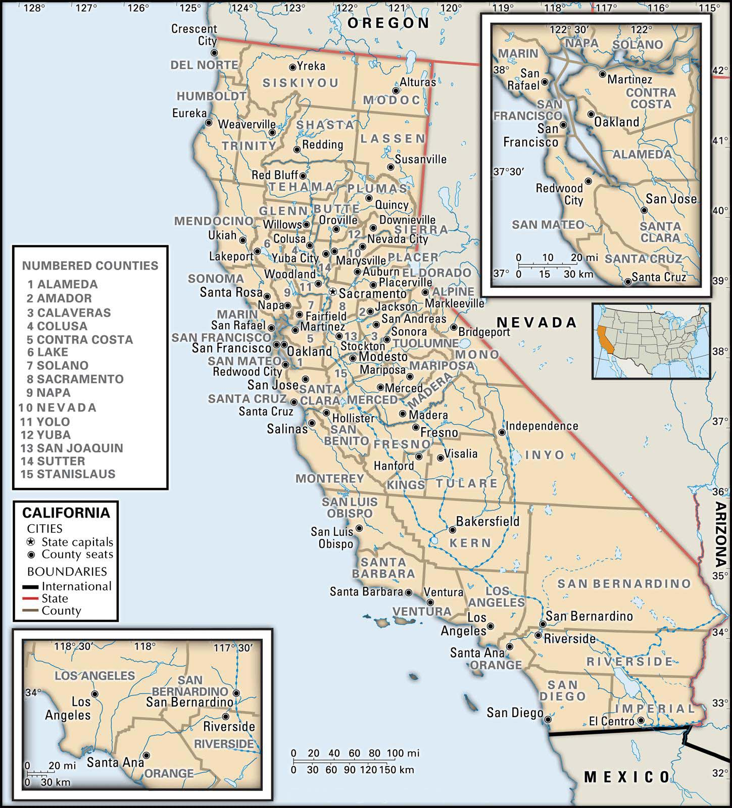 State And County Maps Of California - California County Map With Roads