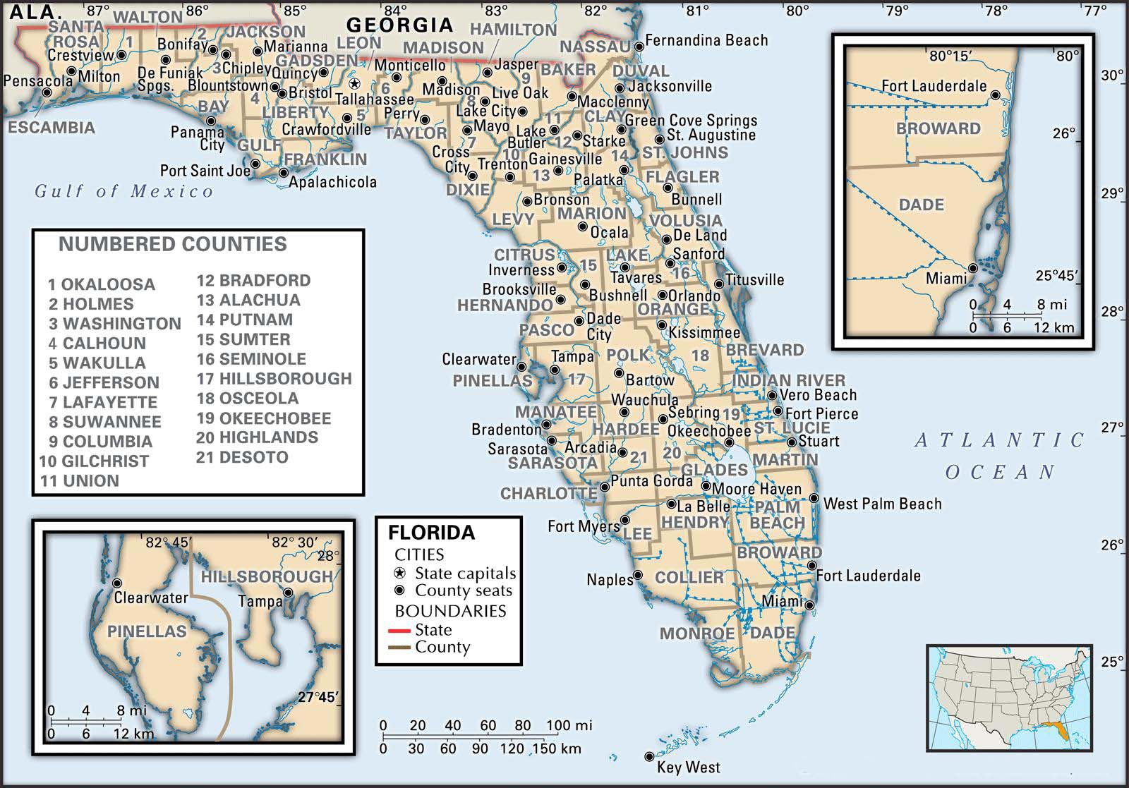 State And County Maps Of Florida - Tallahassee On The Map Of Florida