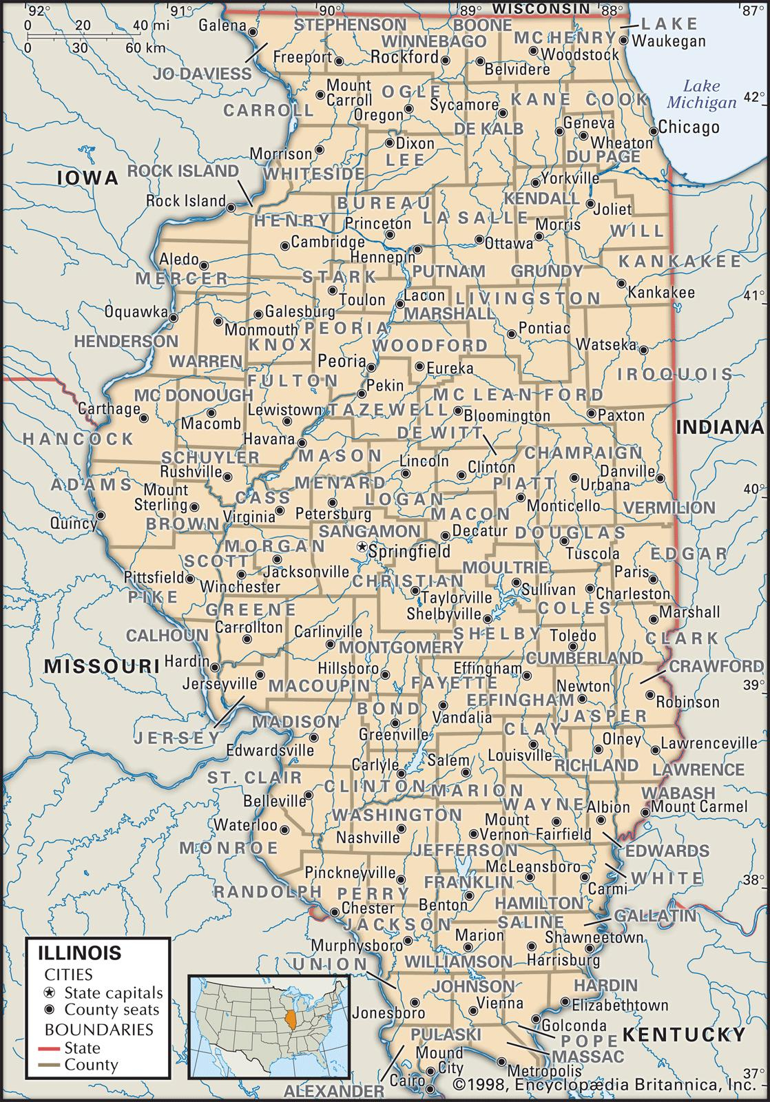 State And County Maps Of Illinois - Printable Map Of Illinois