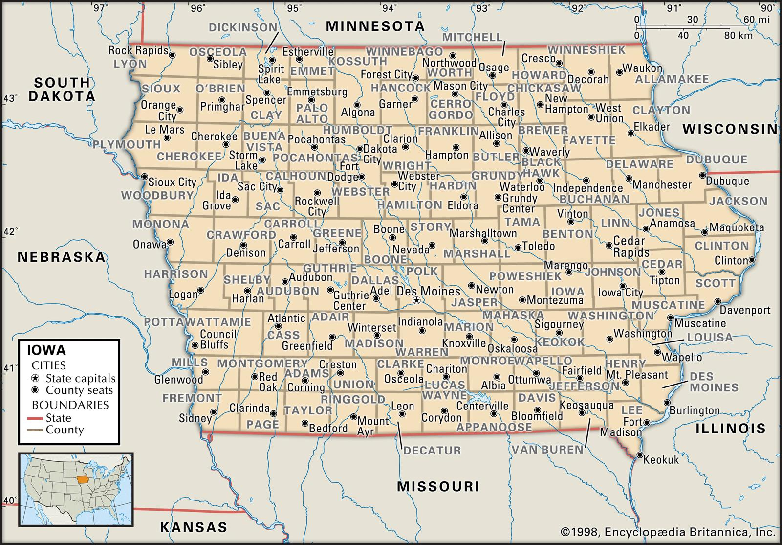 State And County Maps Of Iowa - Printable Map Of Des Moines Iowa