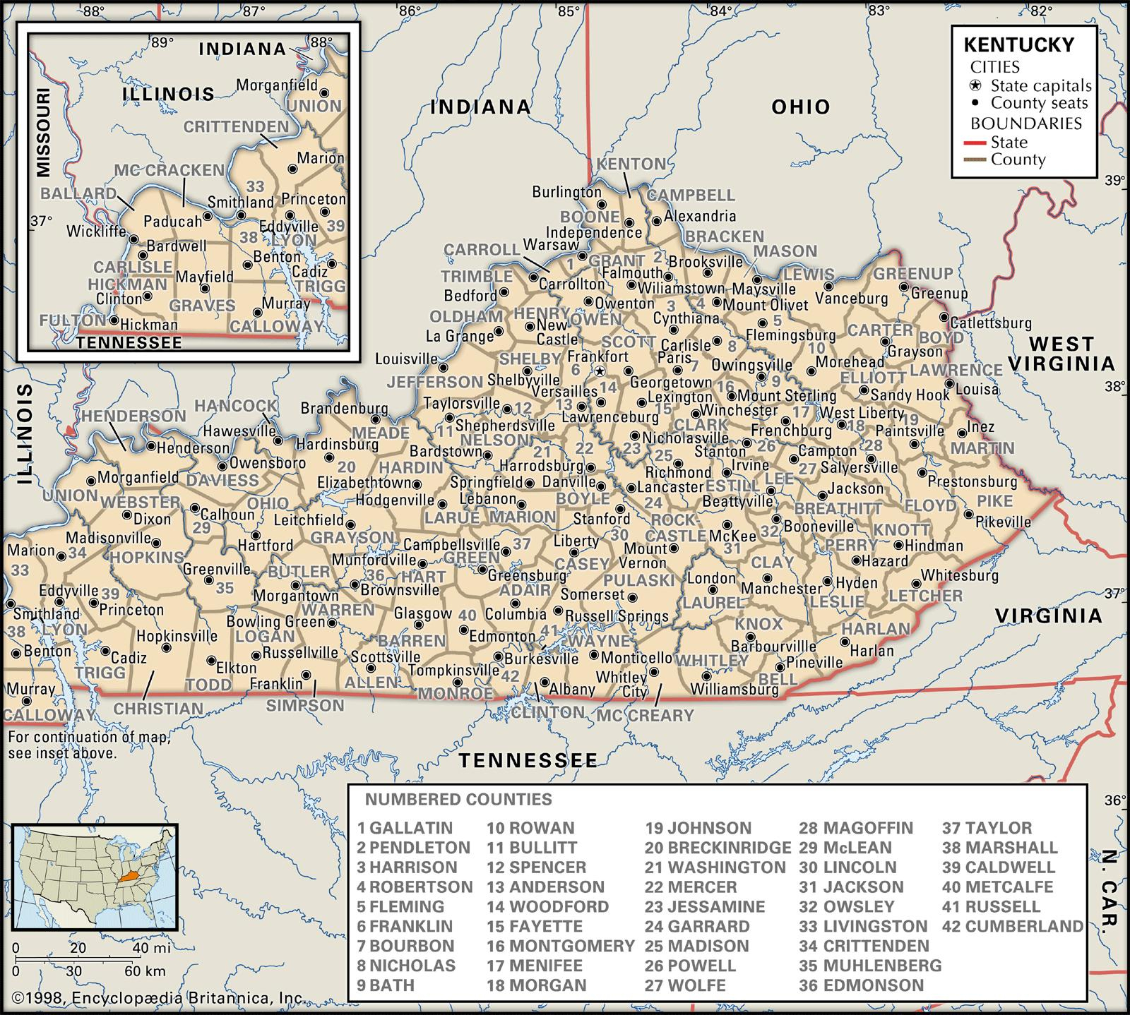 State And County Maps Of Kentucky - Printable Map Of Bowling Green Ky