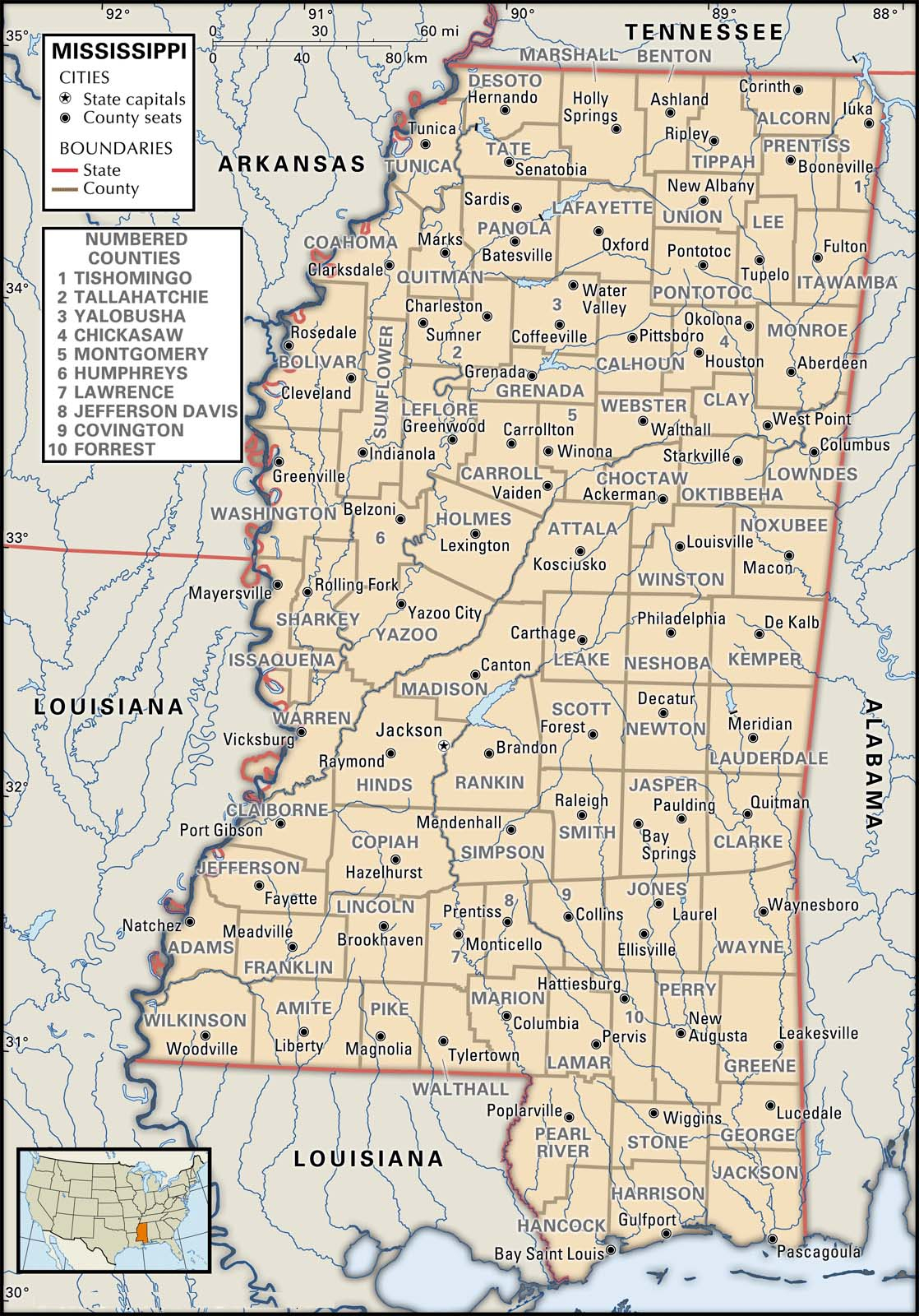 State And County Maps Of Mississippi - Printable Map Of Lafayette La