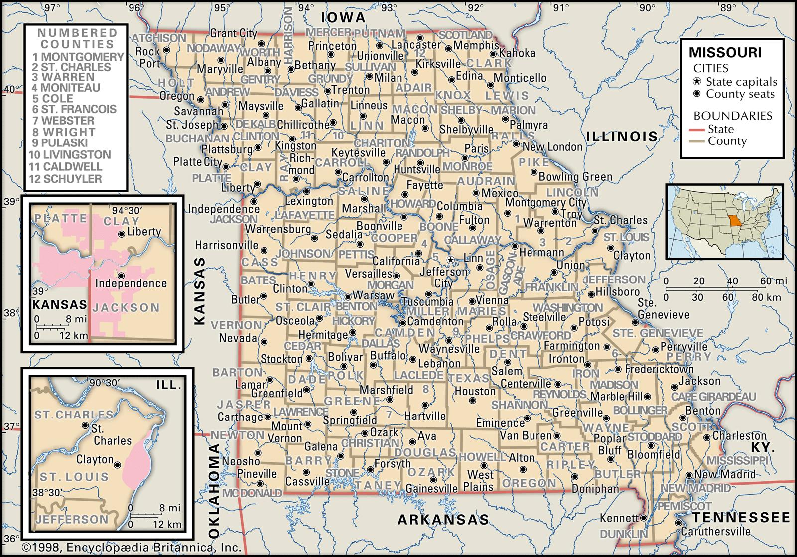 State And County Maps Of Missouri - Texas County Mo Property Map