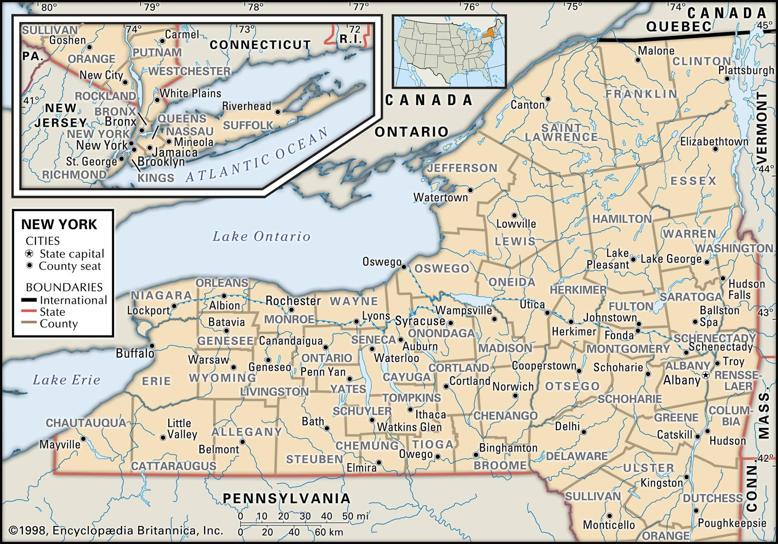 State And County Maps Of New York - Road Map Of New York State Printable