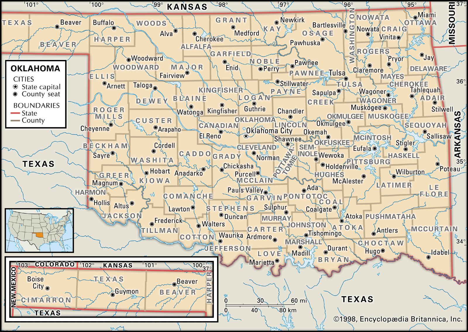 State And County Maps Of Oklahoma - Map Of North Texas And Oklahoma