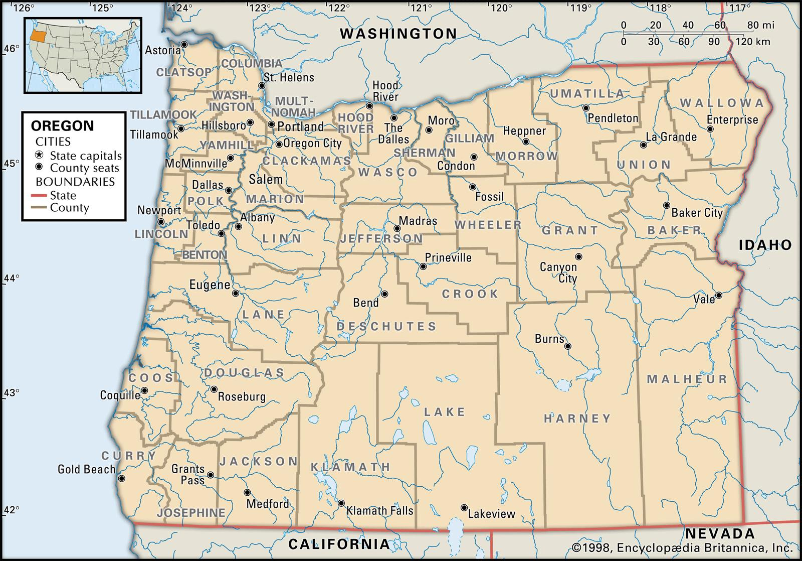 State And County Maps Of Oregon - Oregon Road Map Printable