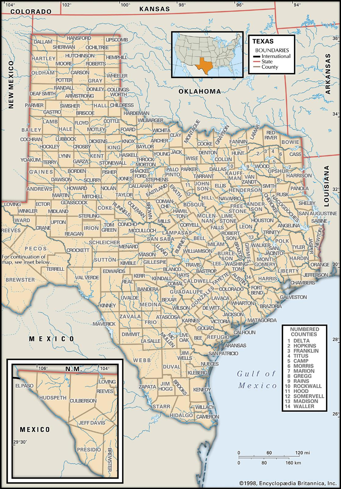 State And County Maps Of Texas - Gaines County Texas Section Map