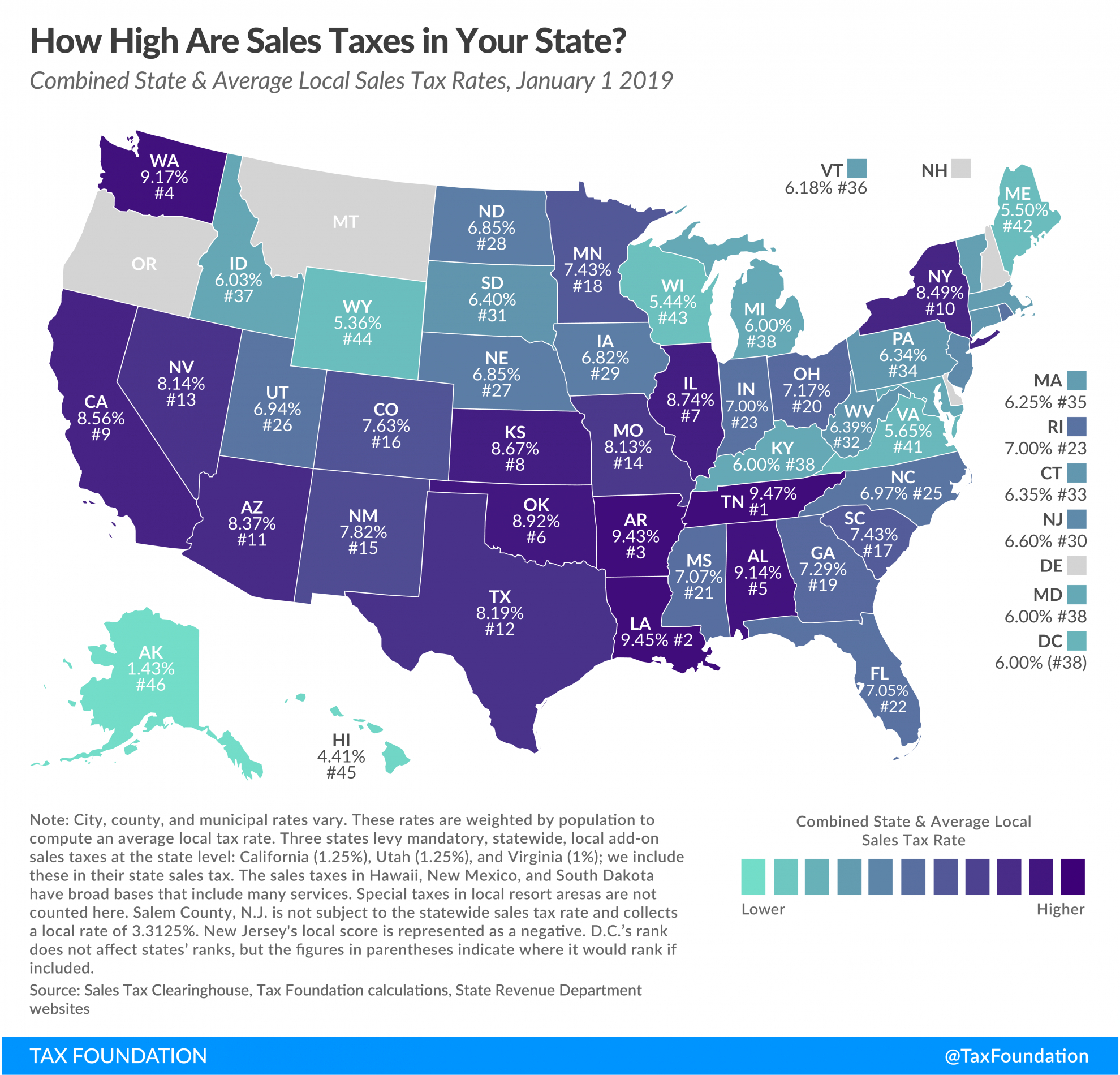 State And Local Sales Tax Rates, 2019 | Tax Foundation - California Sales Tax Map