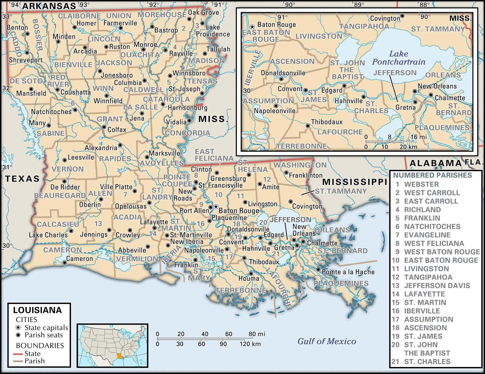 State And Parish Maps Of Louisiana - Printable Map Of Lafayette La