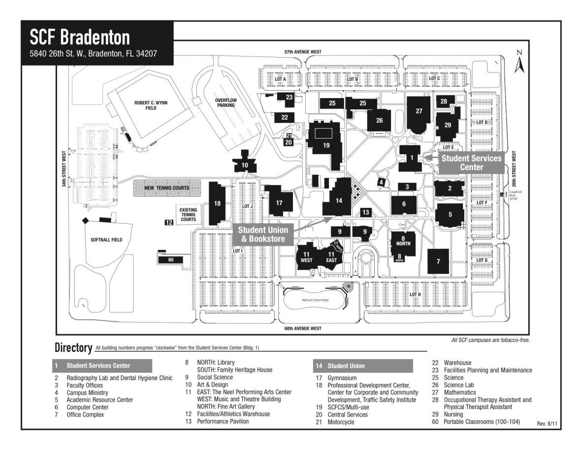 State College Of Florida, Manatee-Sarasota - State College Of Florida Bradenton Campus Map