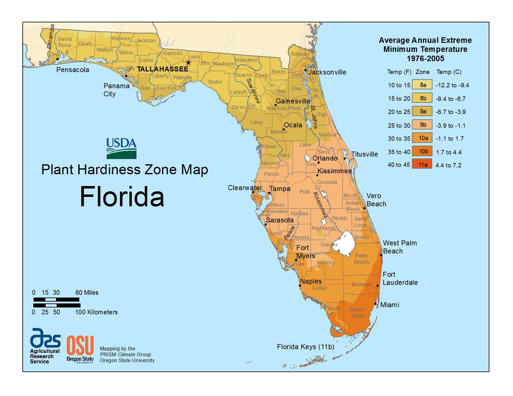 State Maps Of Usda Plant Hardiness Zones - Usda Zone Map Florida