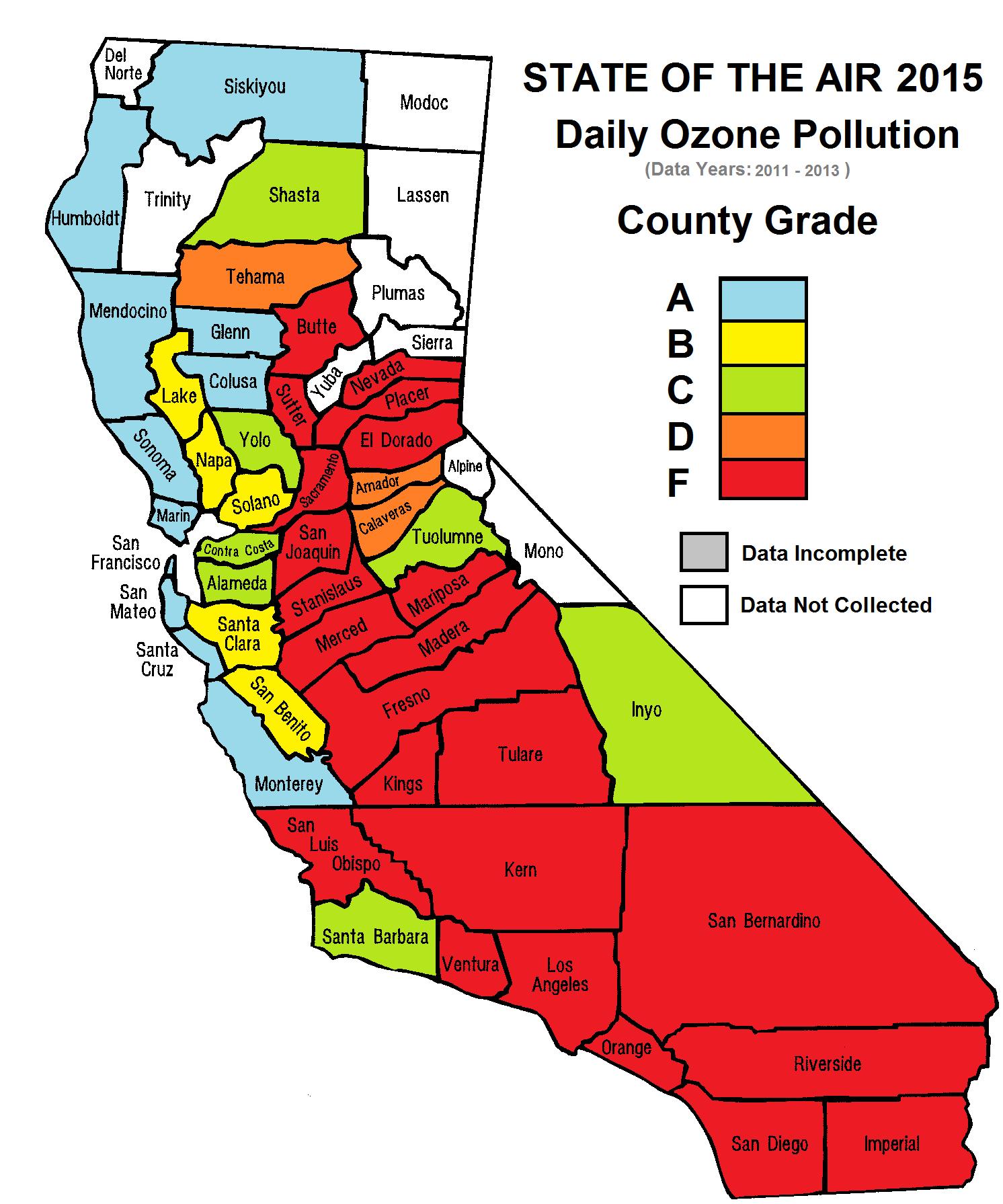 Stateofairmap Map California Air Quality Map California - Klipy - Air Quality Map For California