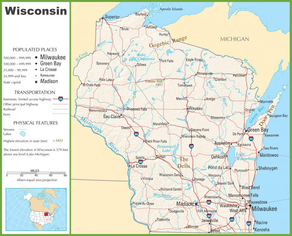 States Map With Cities. Wisconsin Road Map - States Map With Cities - Wisconsin Road Map Printable