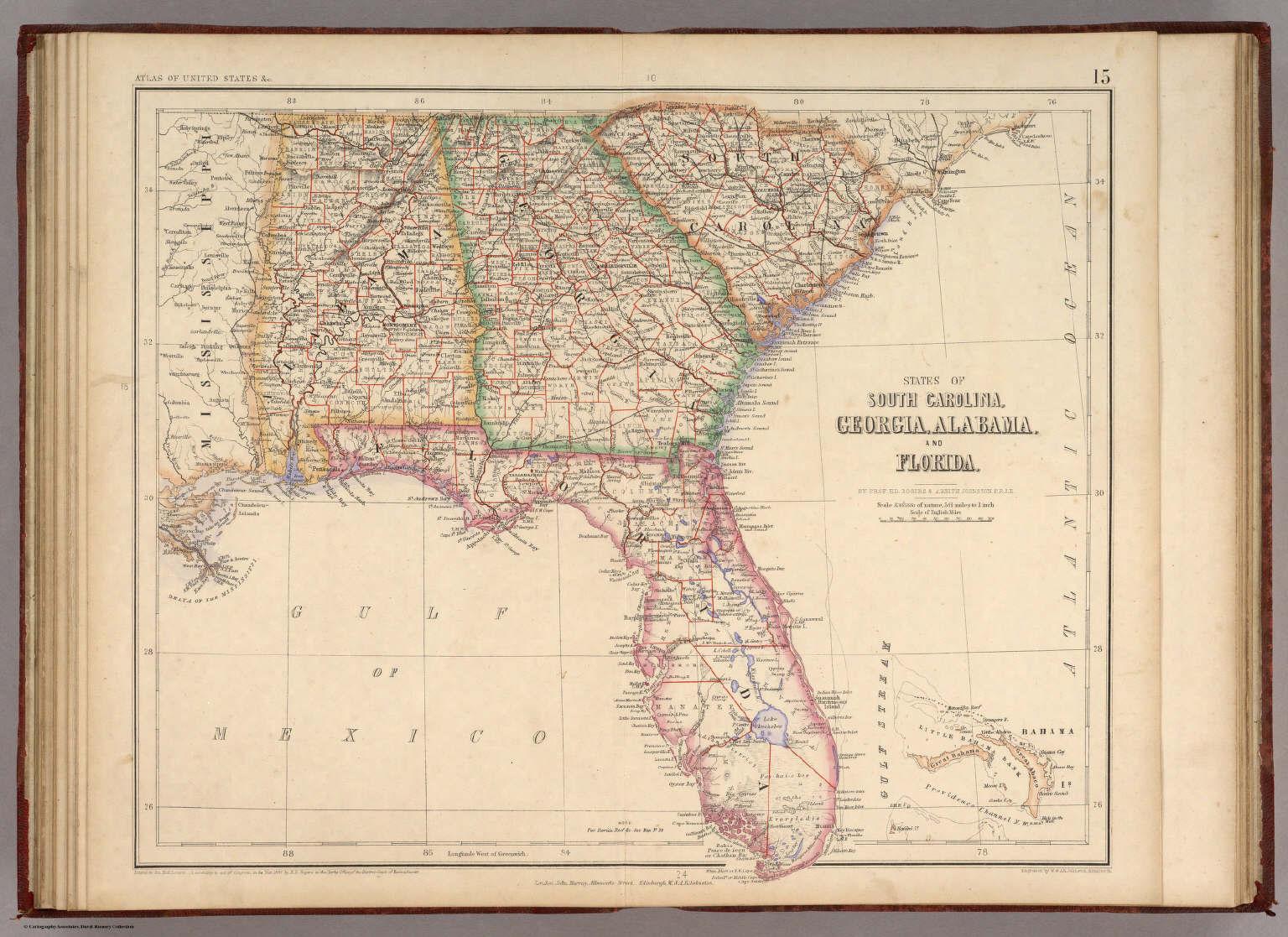 States Of South Carolina, Georgia, Alabama, And Florida. / Rogers - Map Of Georgia And Florida