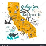 Stock Vector Hand Drawn Illustration Of California Map With Tourist   California Tourist Attractions Map