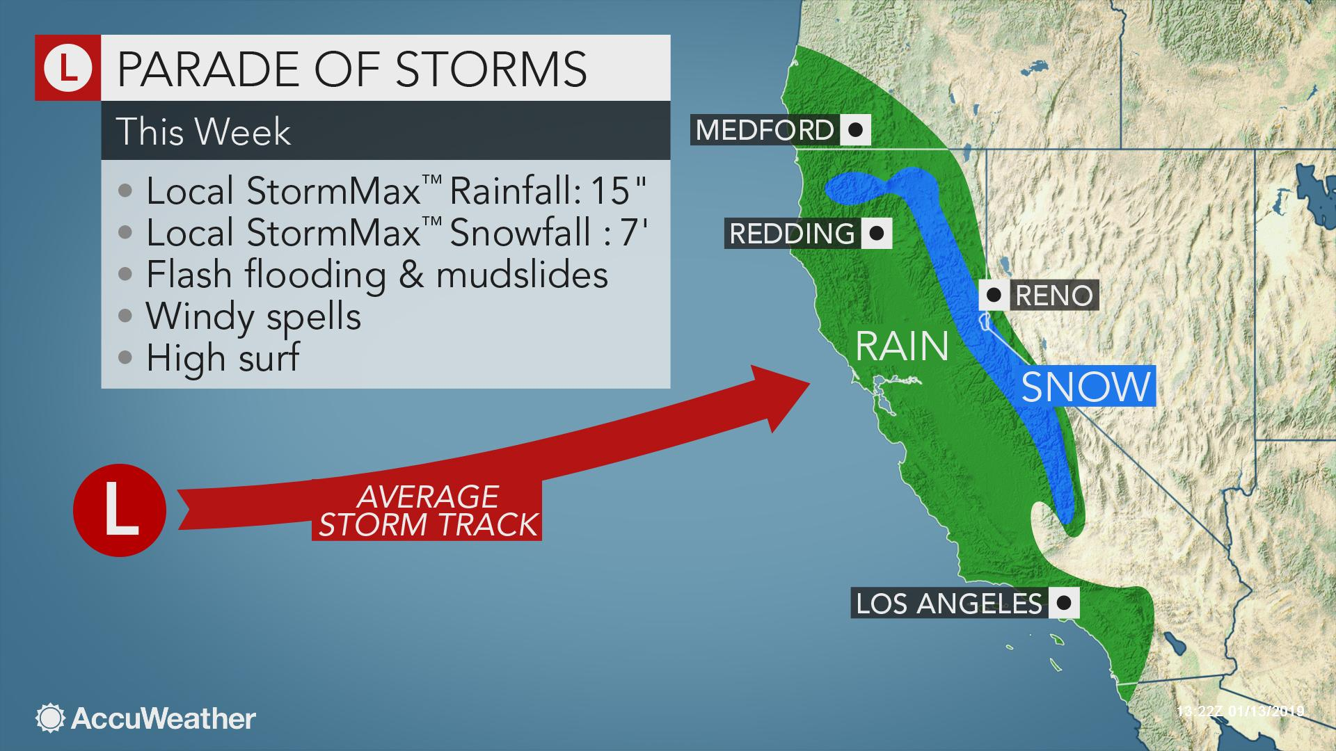 Storm Onslaught To Bombard California With Flooding Rain, Mountains - California Snow Map