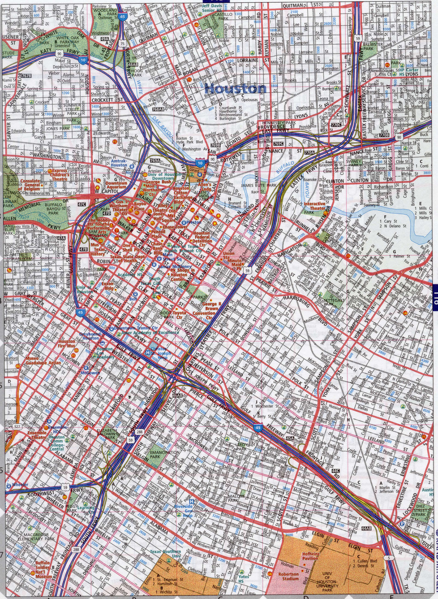 Street Map Of Houston Texas And Travel Information | Download Free - Street Map Of Houston Texas