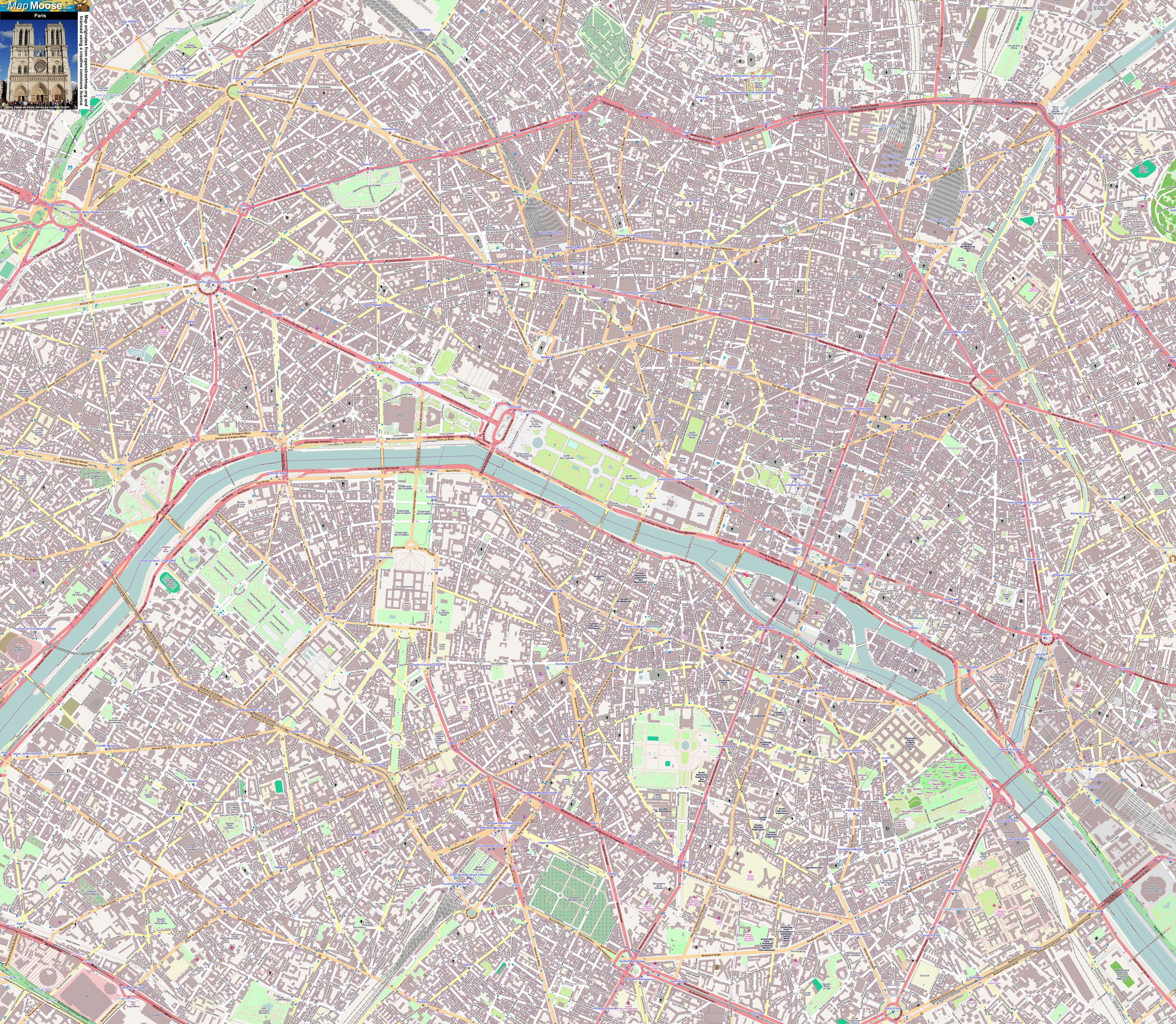 Street Map Of Paris | Travel Maps And Major Tourist Attractions Maps - Paris Street Map Printable