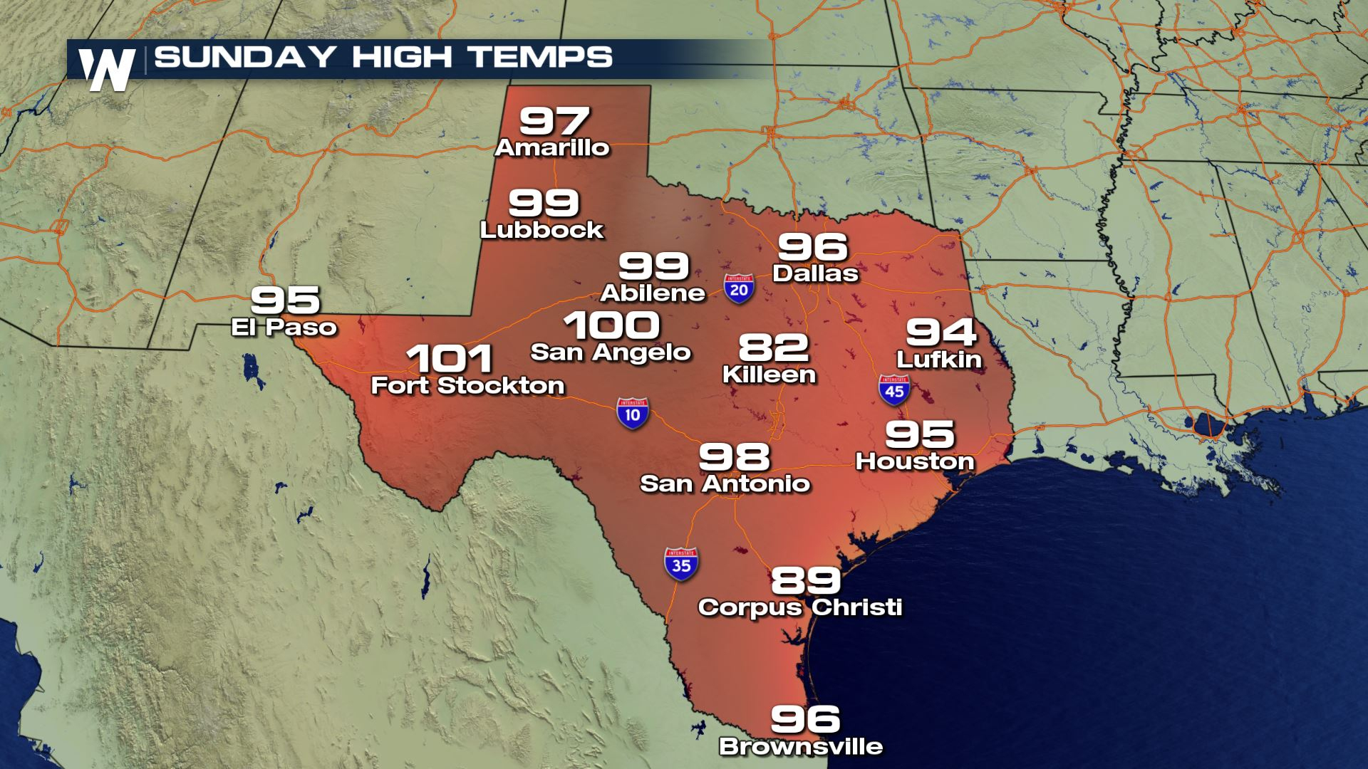 Strong Heat For Texas This Weekend - Weathernation - Texas Forecast Map