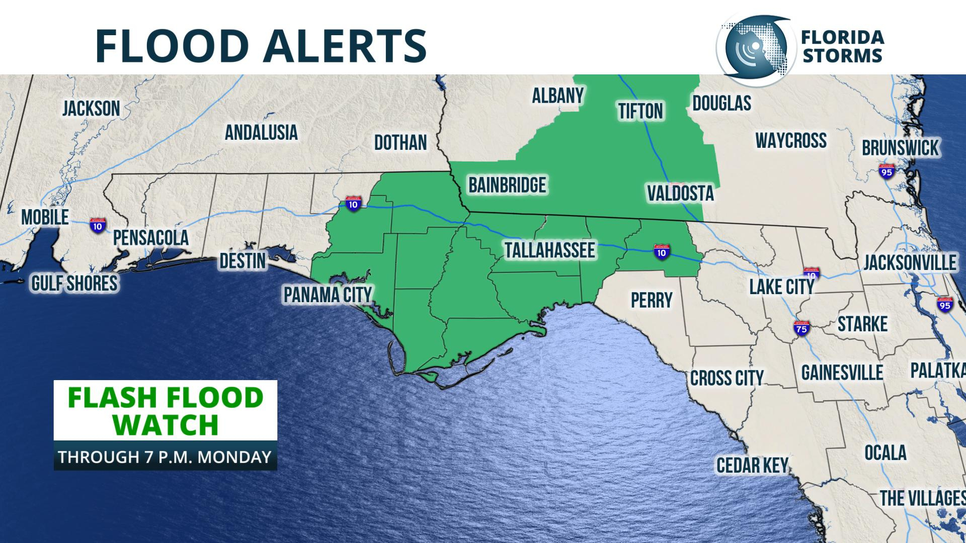 Strong Storms, Flash Flood Risk Continues In North Florida Monday - Flood Maps Gainesville Florida