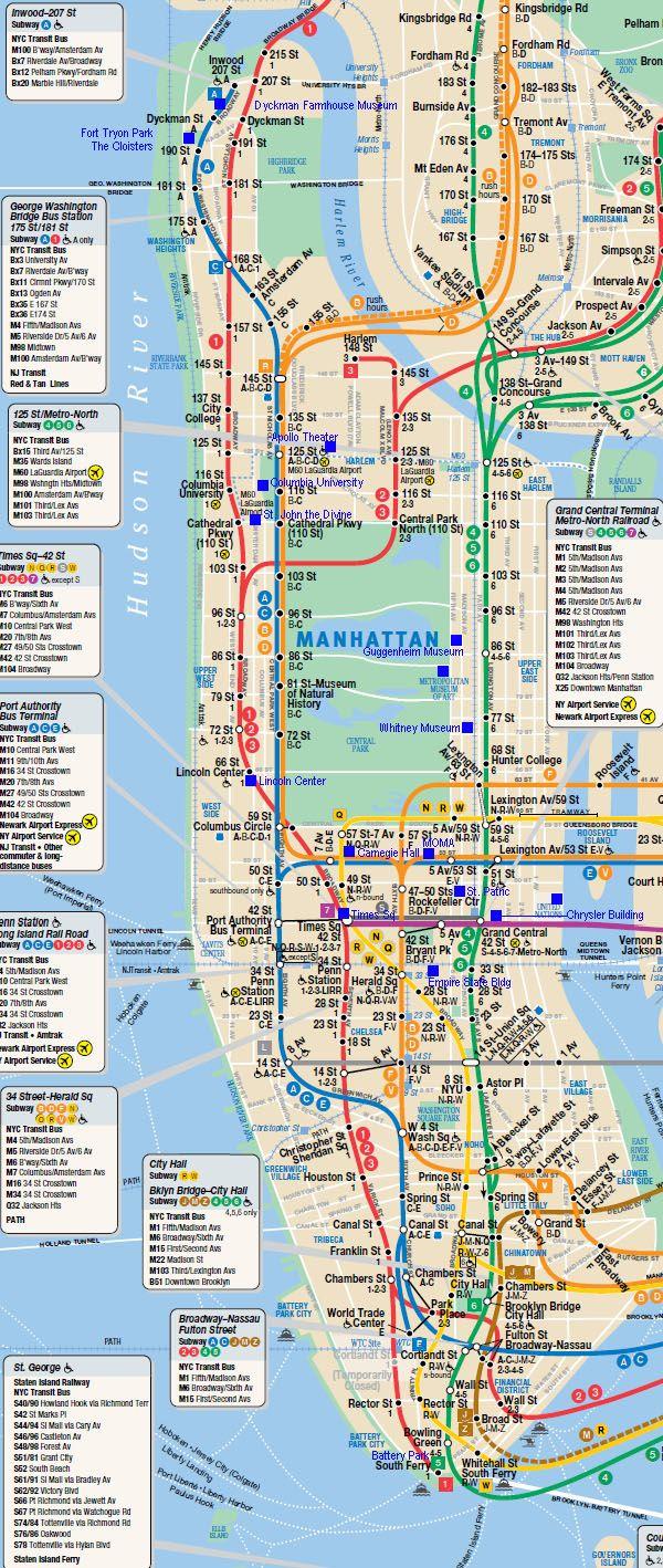 Subway Map | Ny | Mapa Ny, New York Mapa Et Mapa Del Metro - Nyc Subway Map Manhattan Only Printable