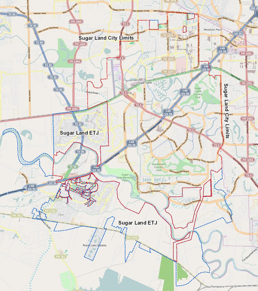 Sugar Land City Limits - Sugar Land Texas Map