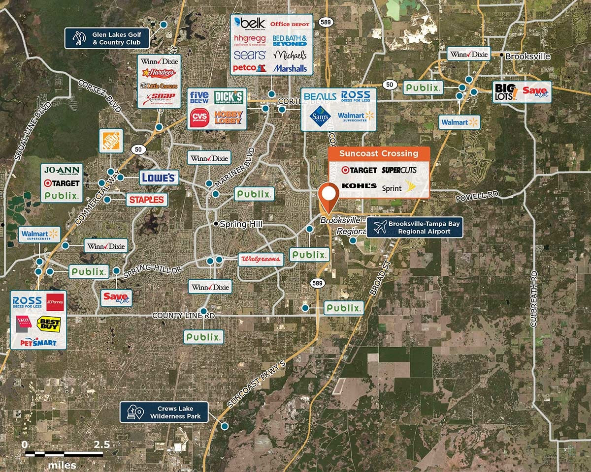 Suncoast Crossing, Spring Hill, Fl 34604 – Retail Space | Regency - Map Showing Spring Hill Florida