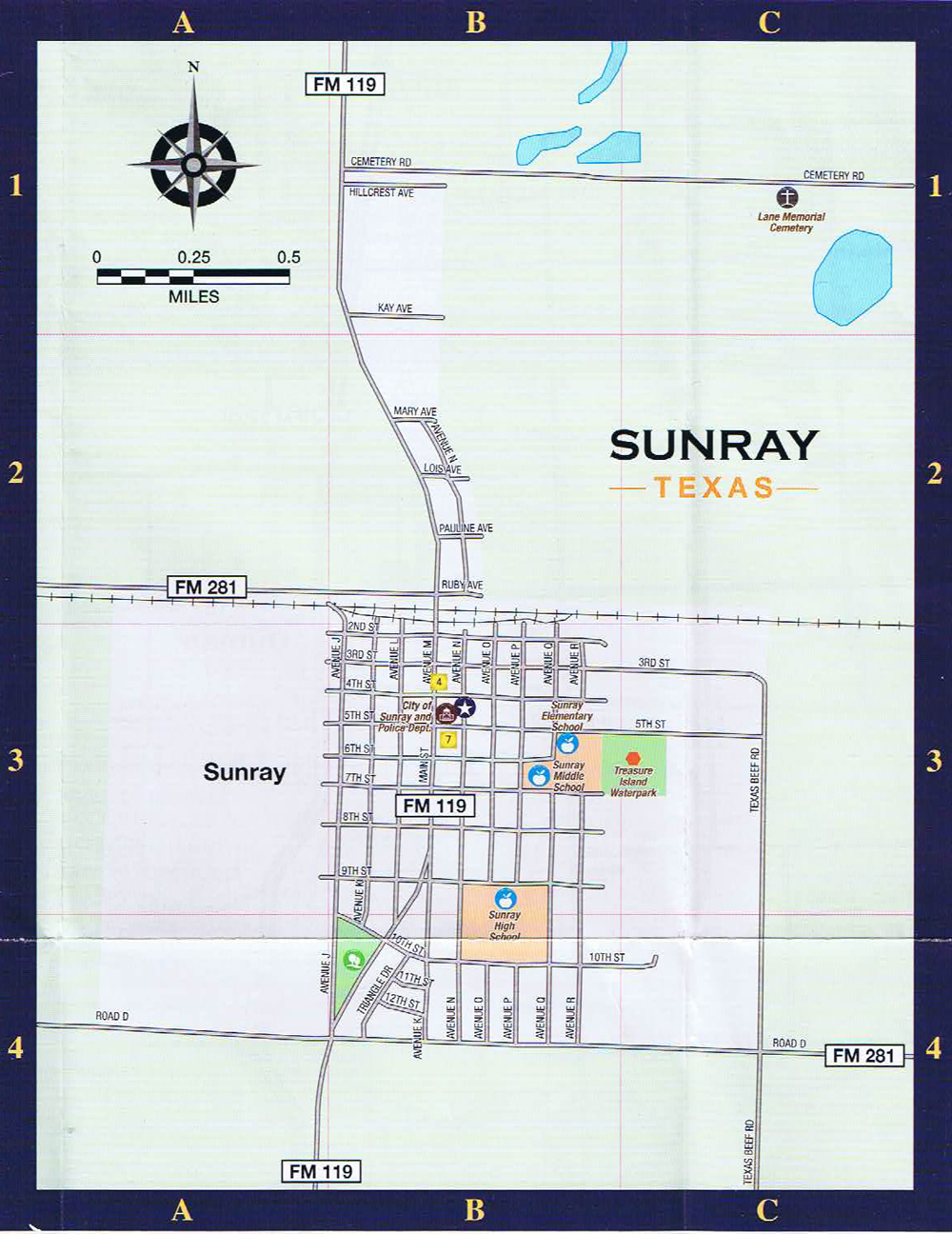Sunray Local Street Map - Dumas Texas Map