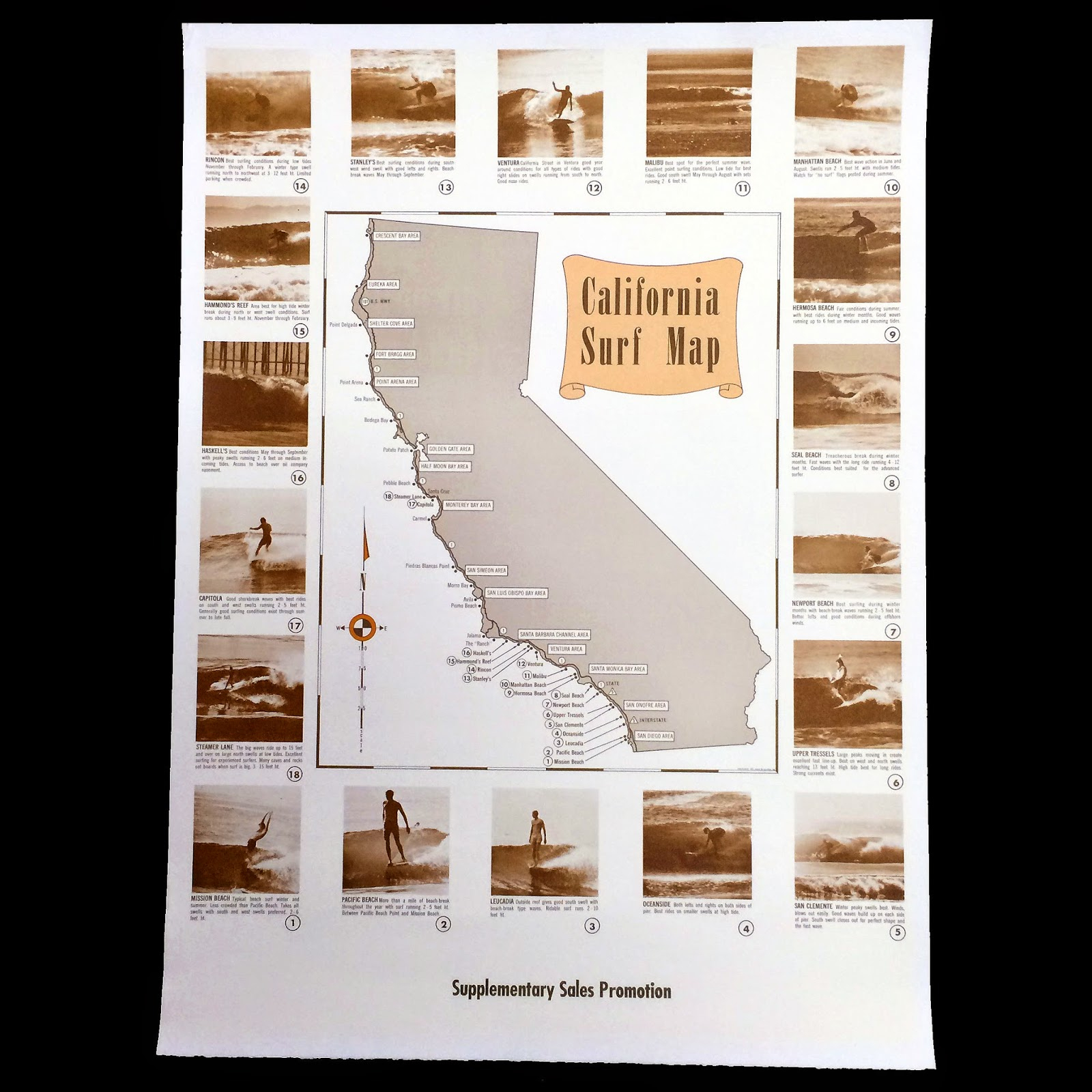 Surfing Heritage & Culture Center: Vintage Map Of California Surf Spots - Surf Spots In California Map