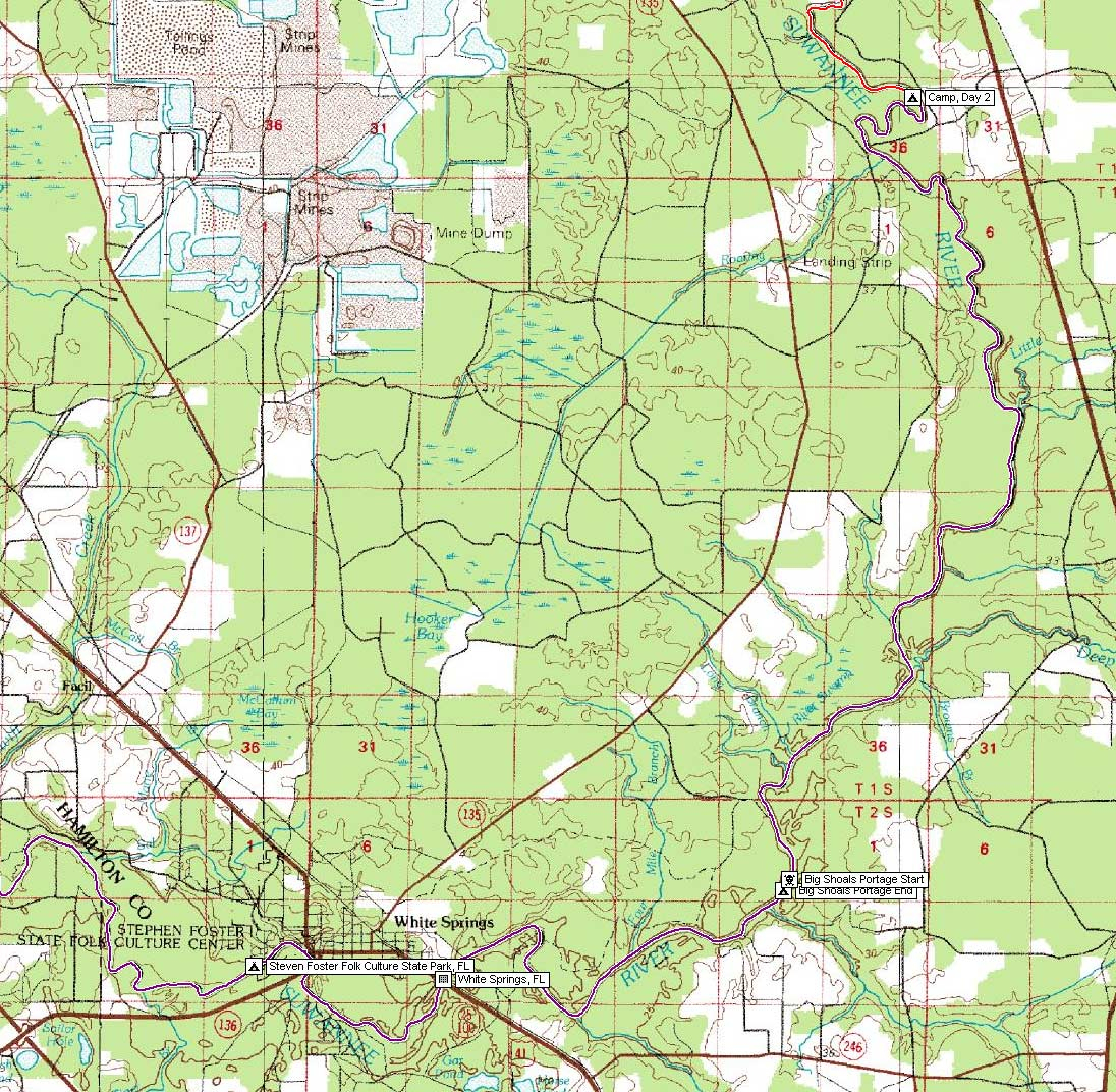 Suwannee River Maps And Gps Data, March 2005 - White Springs Florida Map