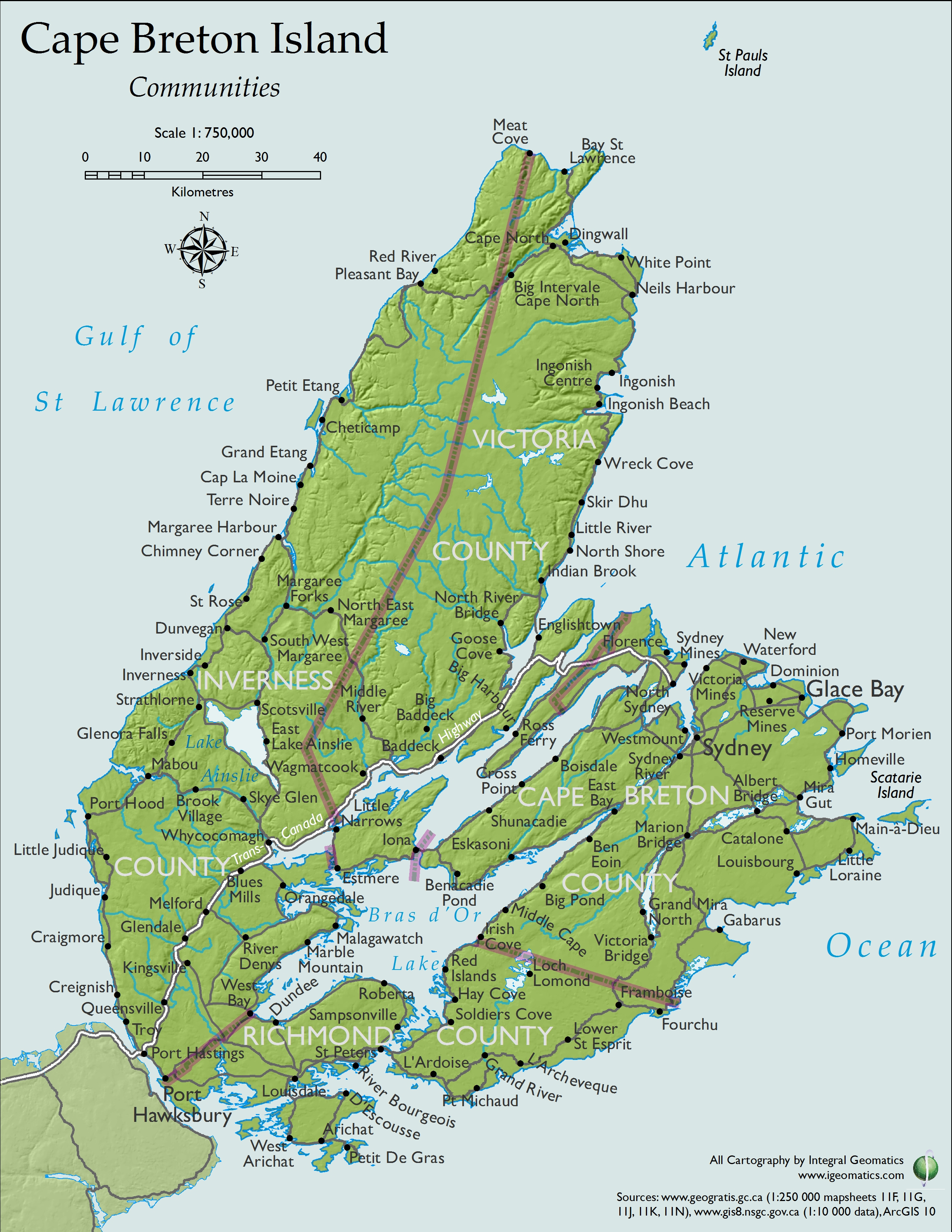 Sydney Cape Breton Island Canada Cruise Port Of Call - Printable Map Of Cape Breton Island