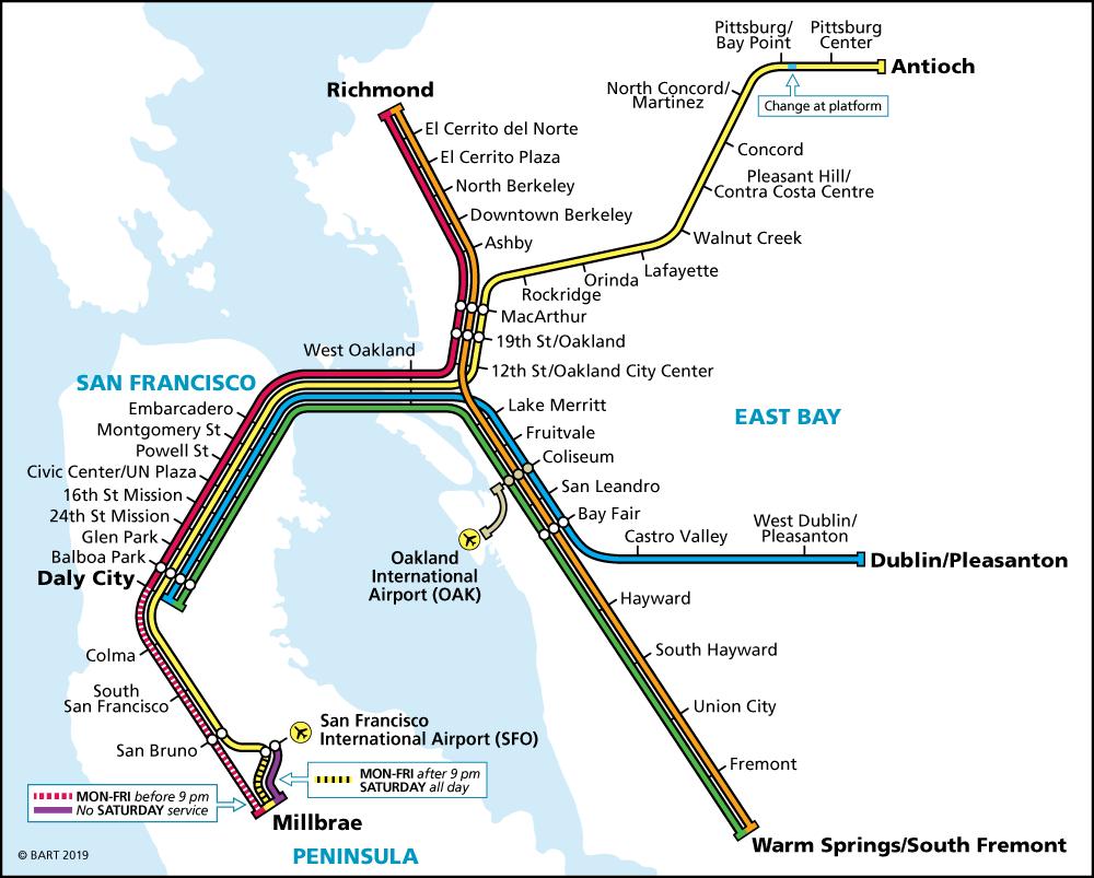 System Map   Bart.gov - Map Of Dublin California Area