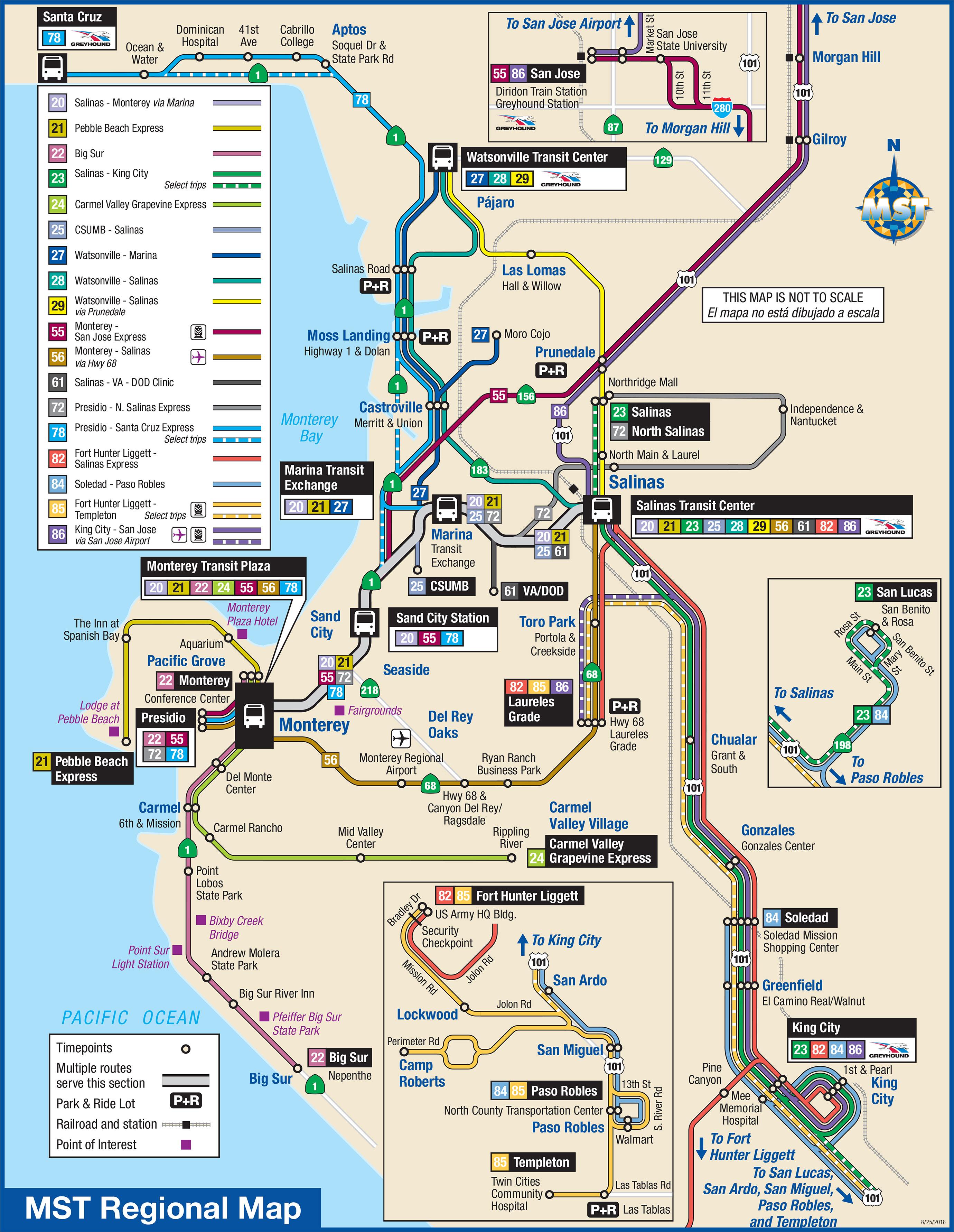 System Maps | Monterey-Salinas Transit - Greyhound Route Map California
