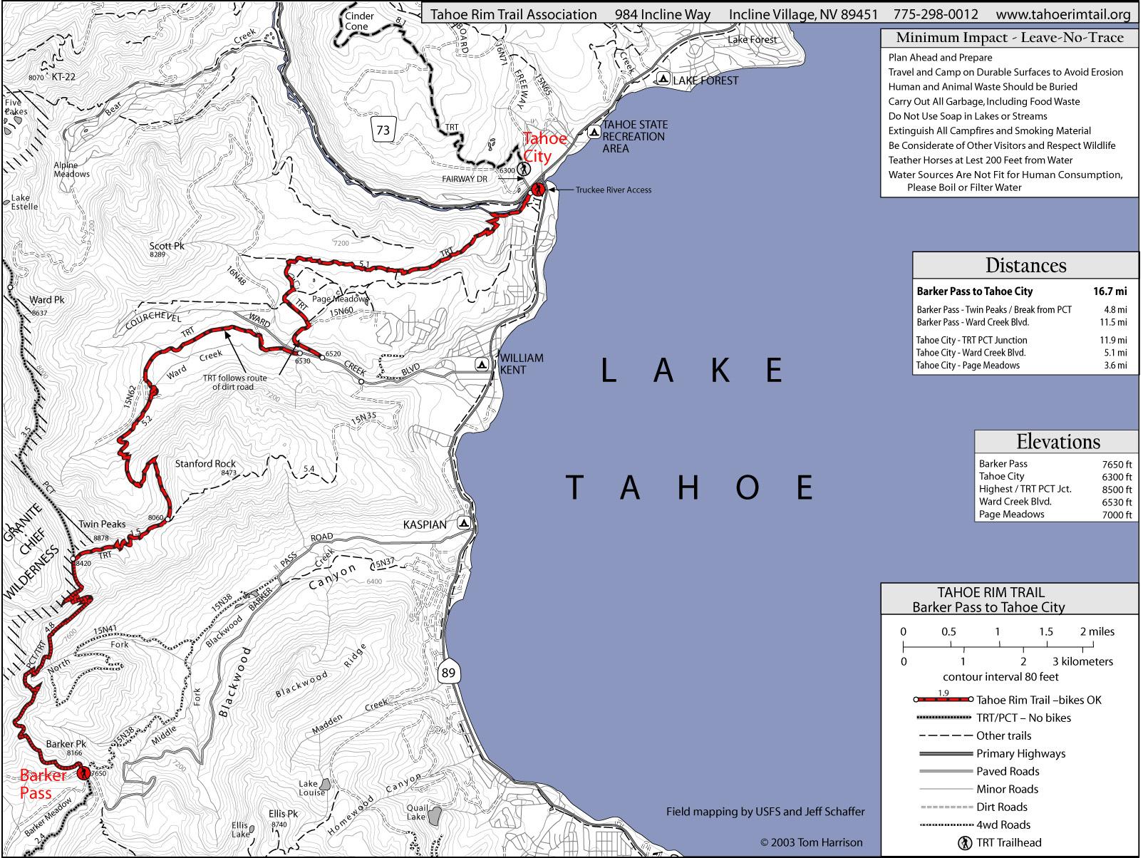 Tahoe Rim Trail Barker Pass To Tahoe City Map - Lake Tahoe Ca • Mappery - Tahoe City California Map