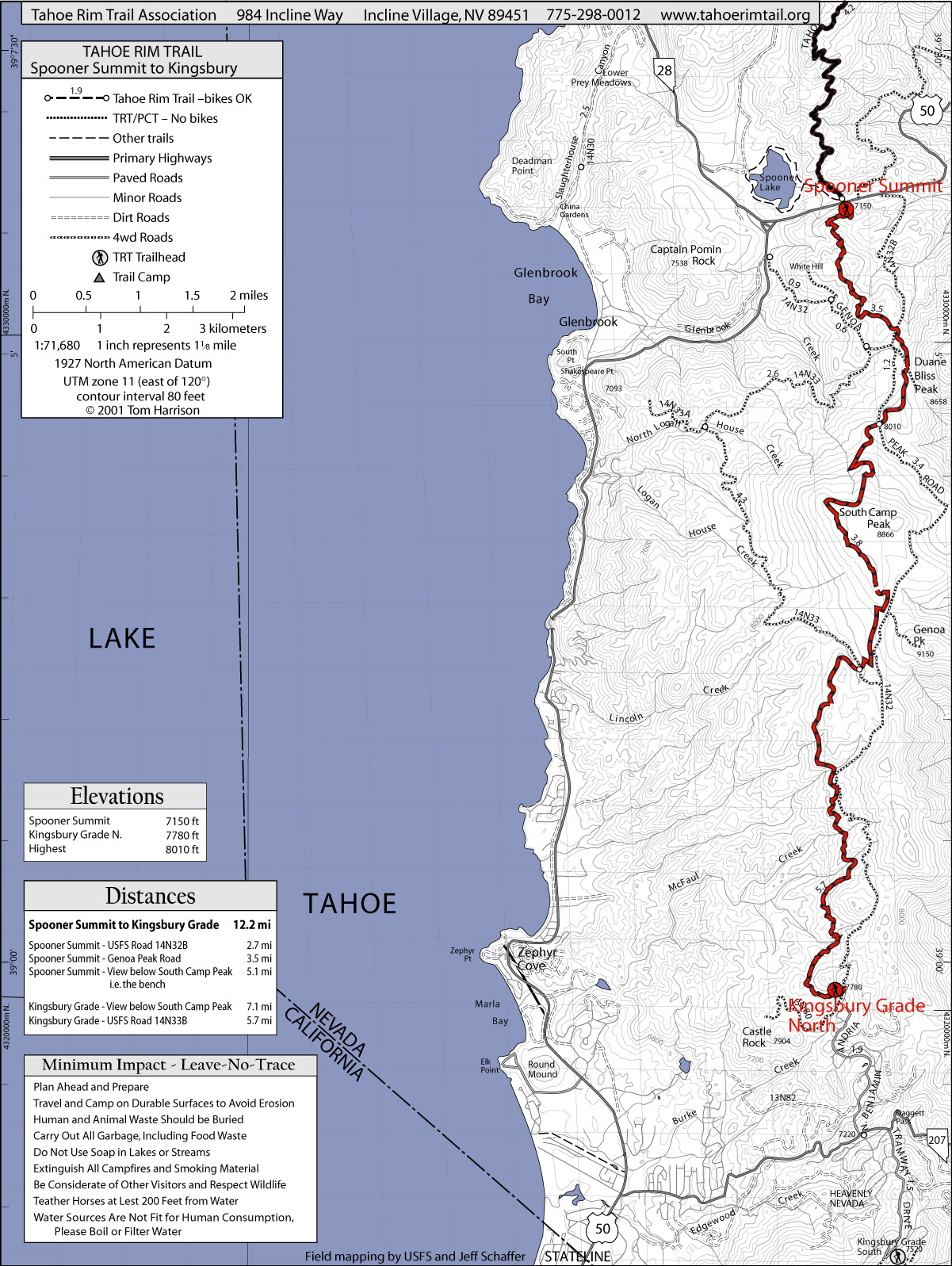 Tahoe Rim Trail Spooner Summit To Kingsbury North Lake Tahoe - Lake Tahoe California Map