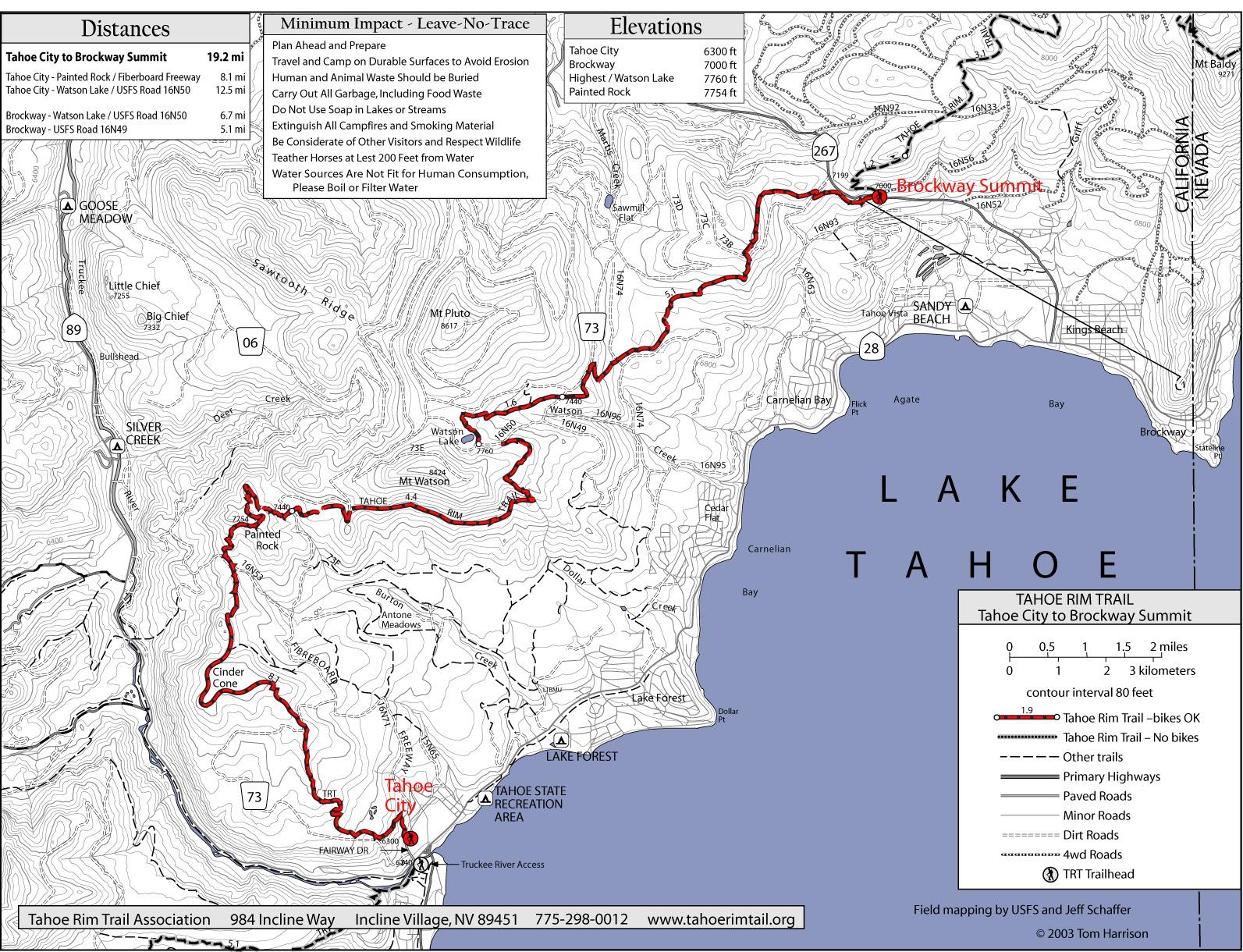 Tahoe Rim Trail Tahoe City To Brockway Summit Map - Lake Tahoe Ca - Tahoe City California Map