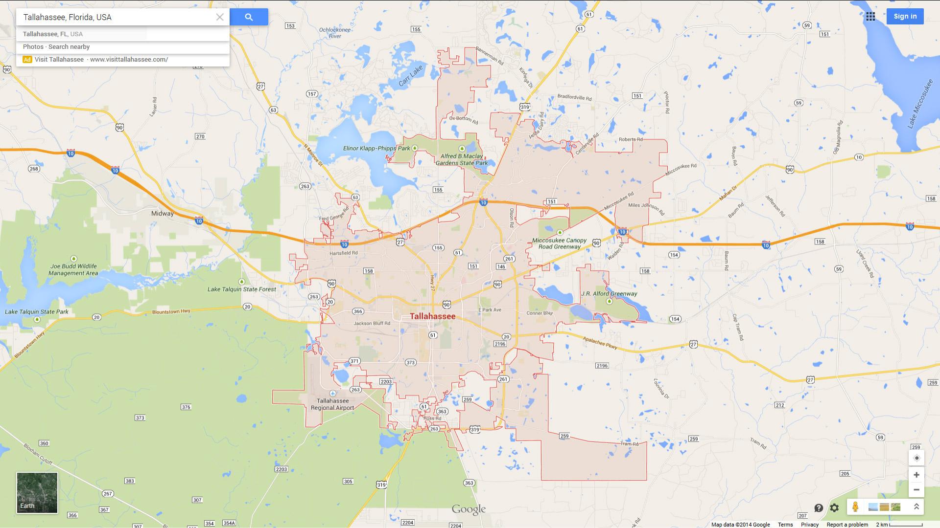Tallahassee, Florida Map - Google Maps Tallahassee Florida