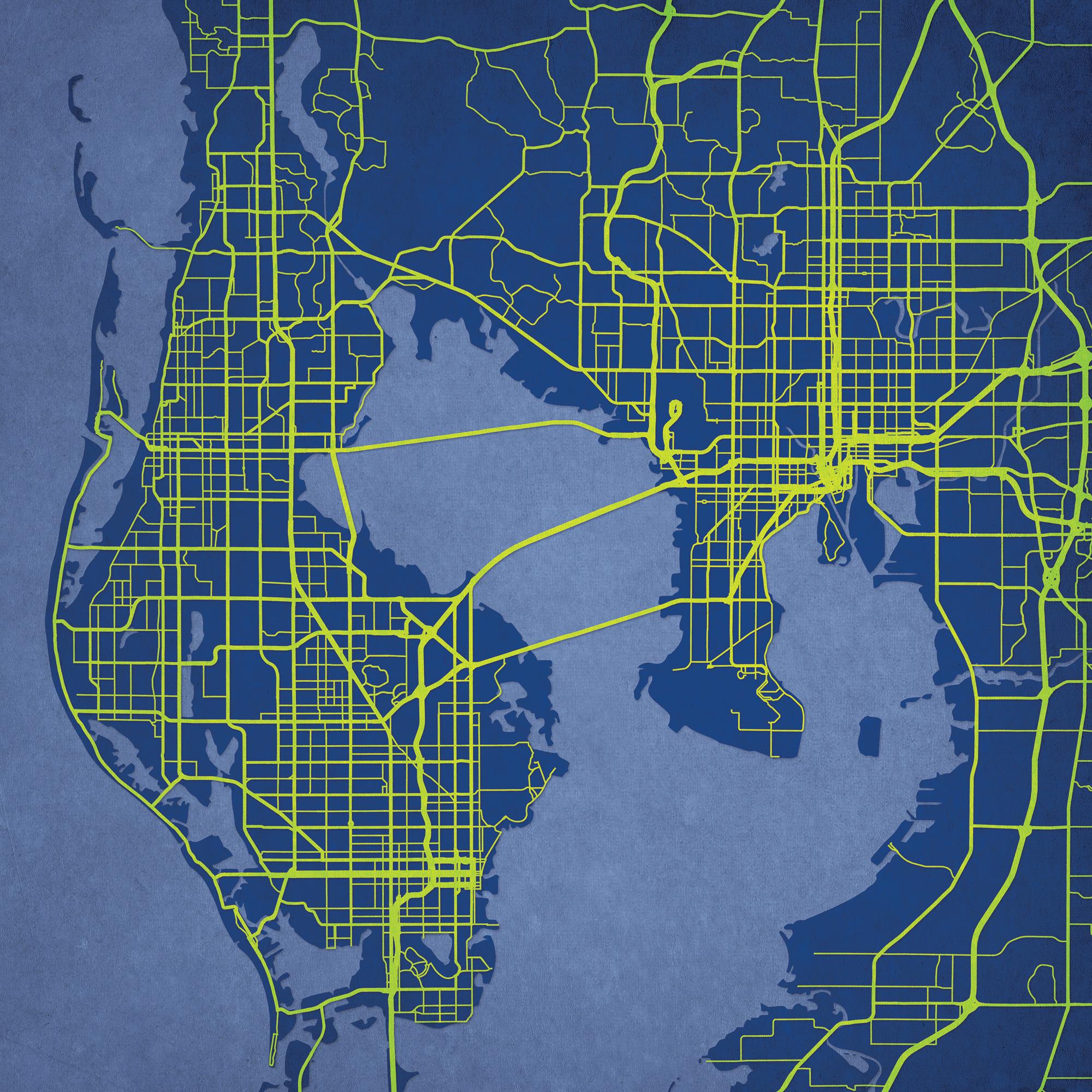 Tampa Bay, Florida Map Art - City Prints - Florida Map Art