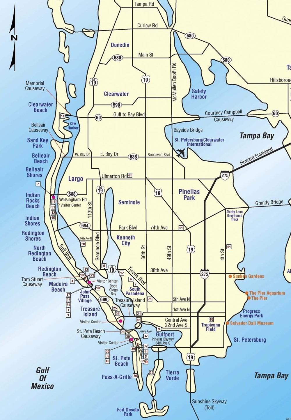 Tampa Bay Map Of Florida Beaches Near 3 | Globalsupportinitiative - Map Of Tampa Florida Beaches