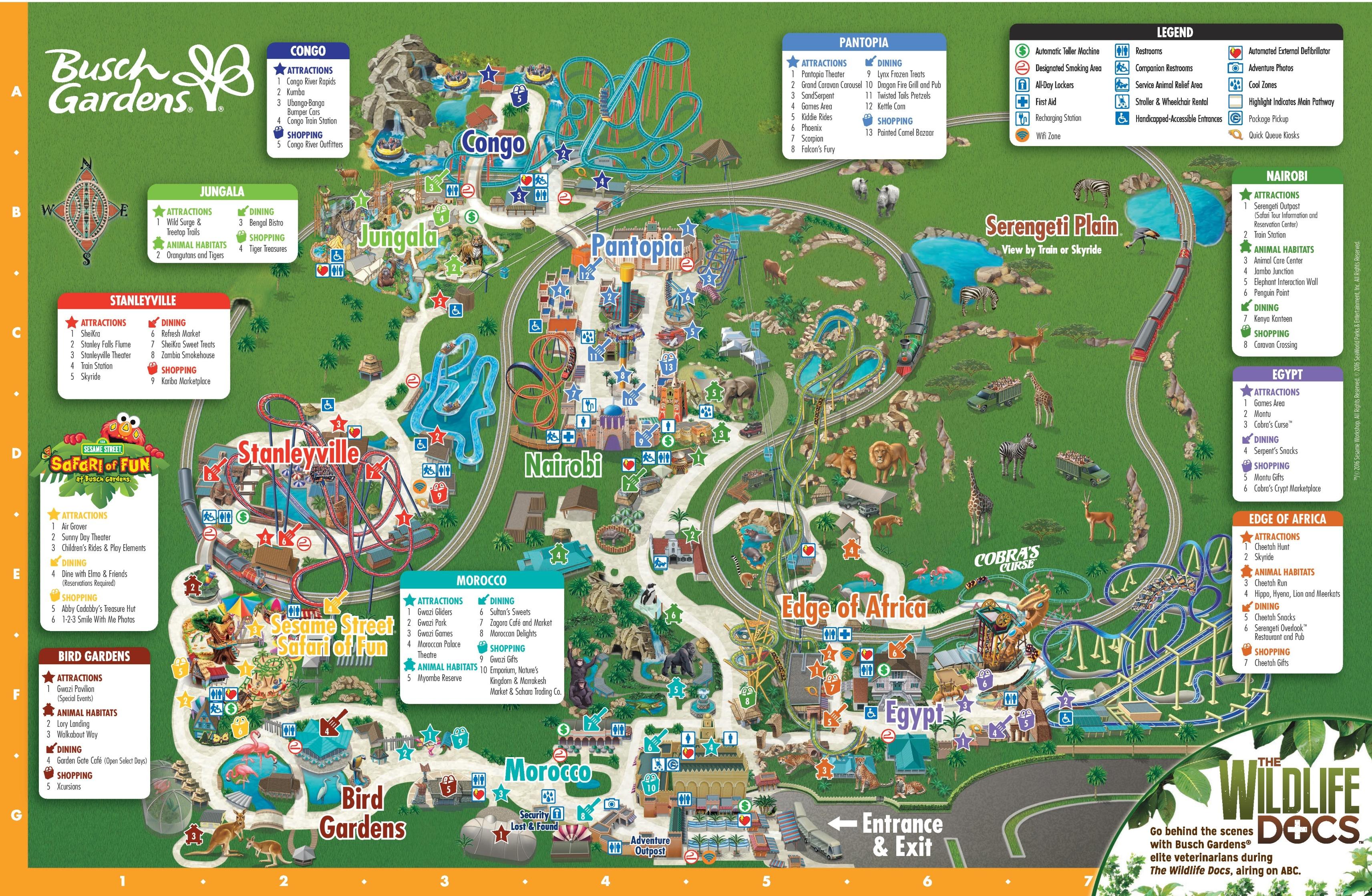 Tampa Busch Gardens Park Map - Florida Busch Gardens Map